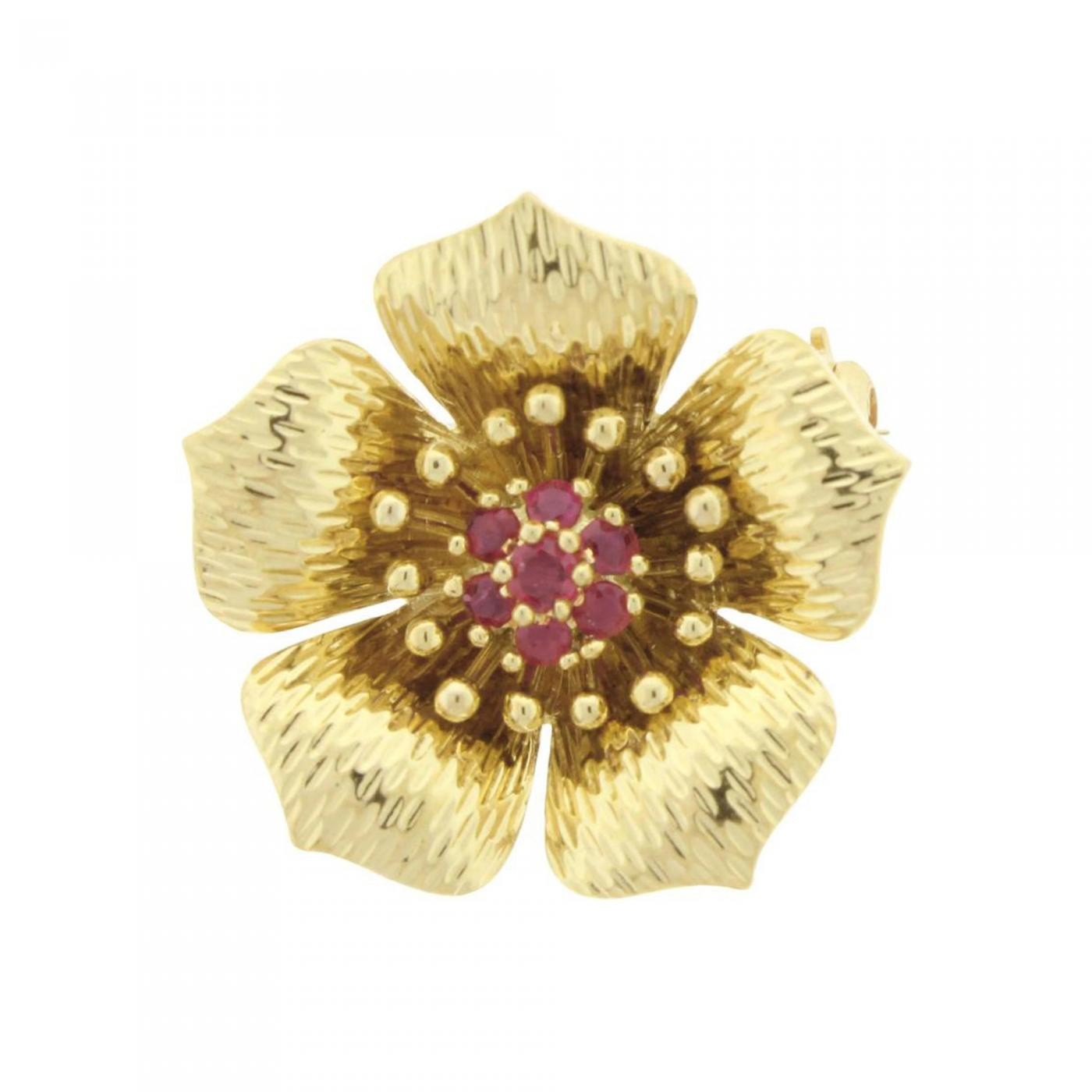 36b1b71db4d96 Tiffany and Co. - Tiffany & Co Ruby Gold Dogwood Flower Brooch