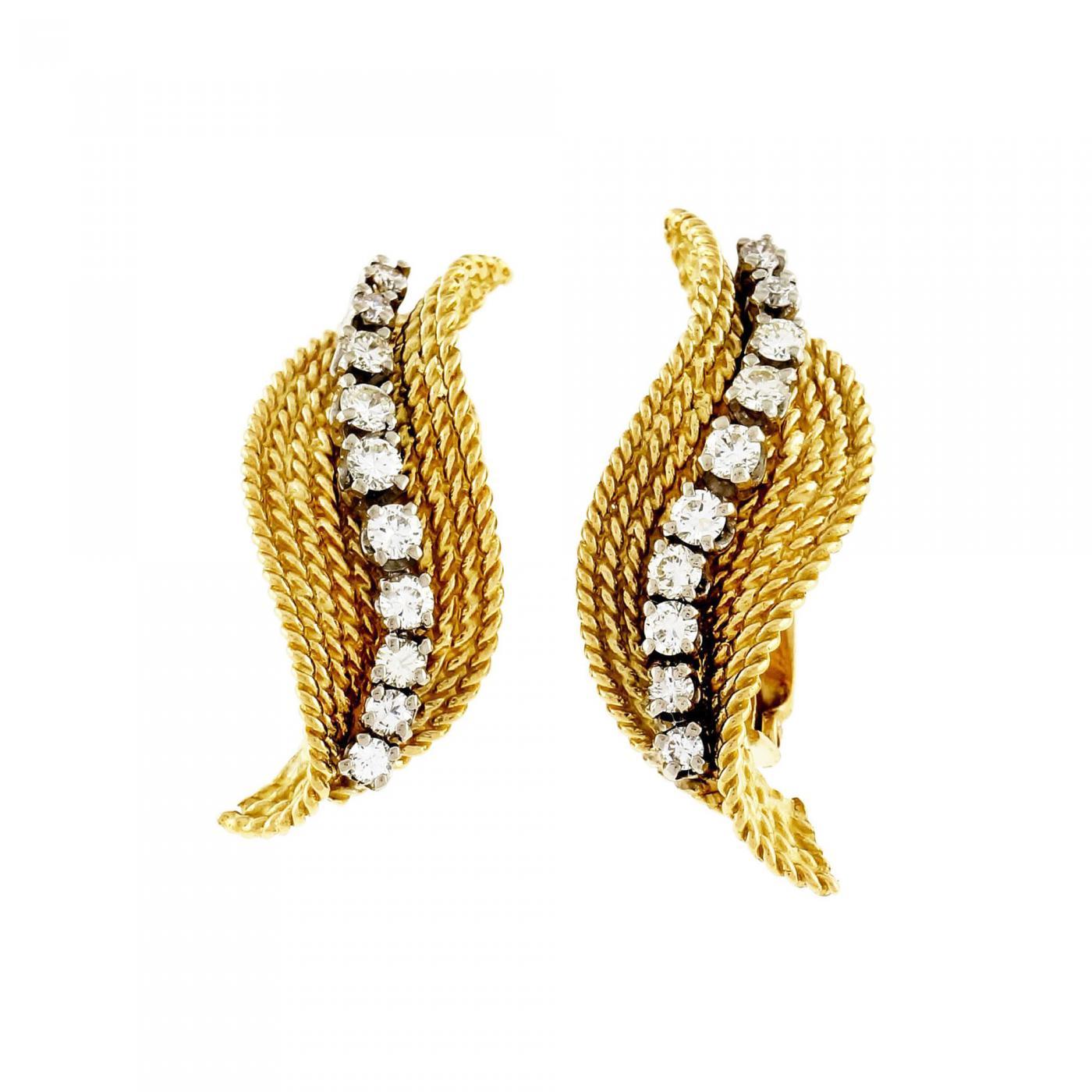 Tiffany & Co Tiffany & pany Diamond Yellow Gold Swirl Earrings