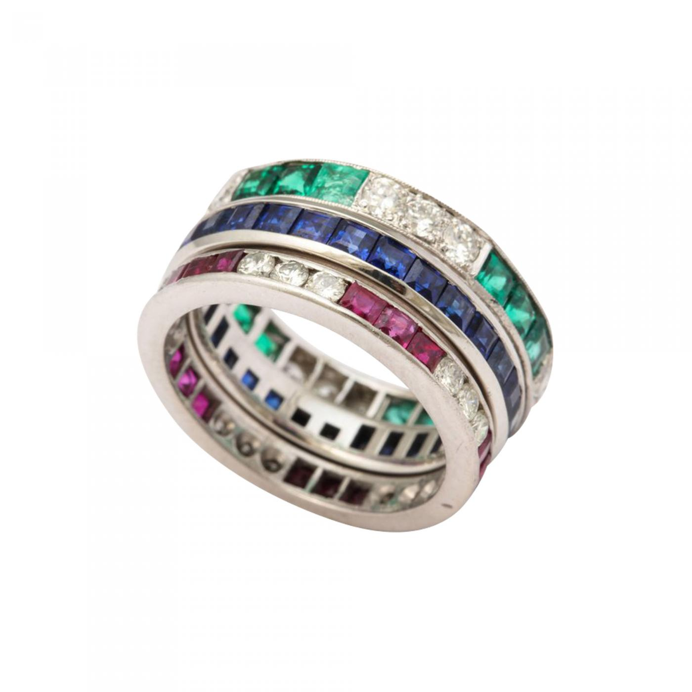 Tiffany and Co Wedding Bands of Diamonds Sapphires Rubies and