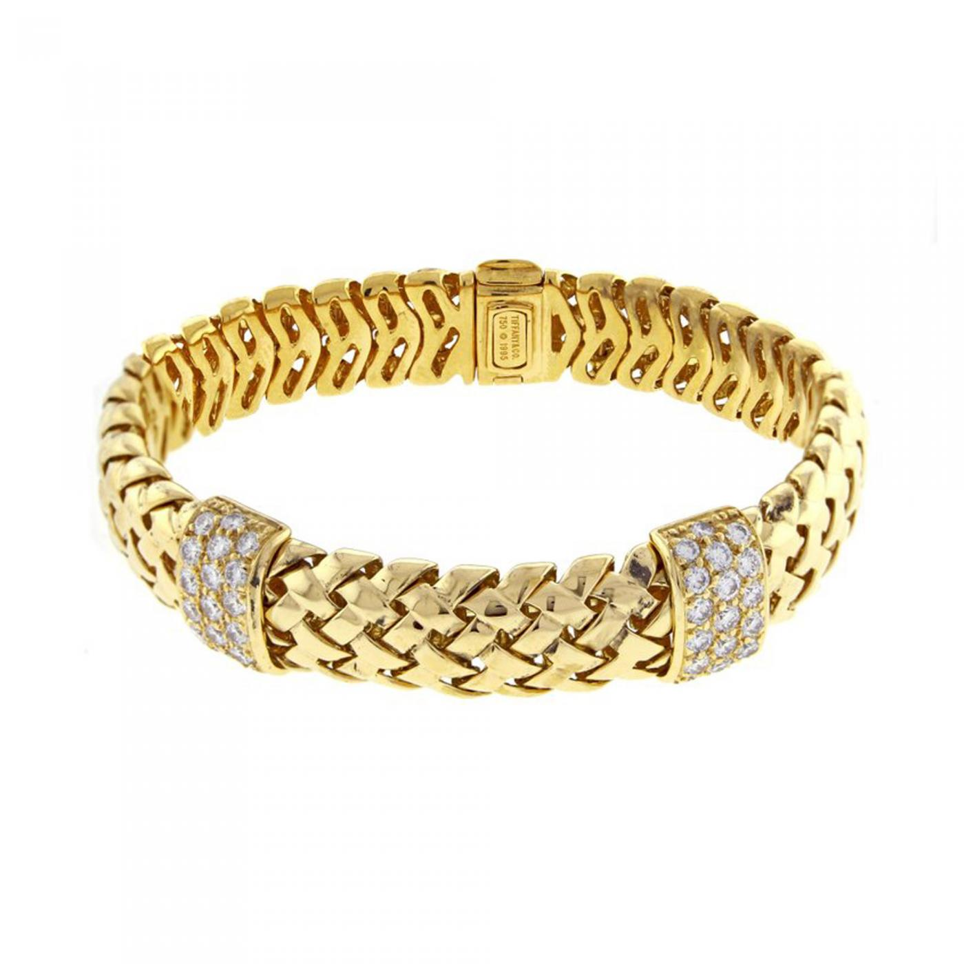 Tiffany and Co  - Tiffany & Co  Gold Woven-Link Vannerie Diamond Bracelet