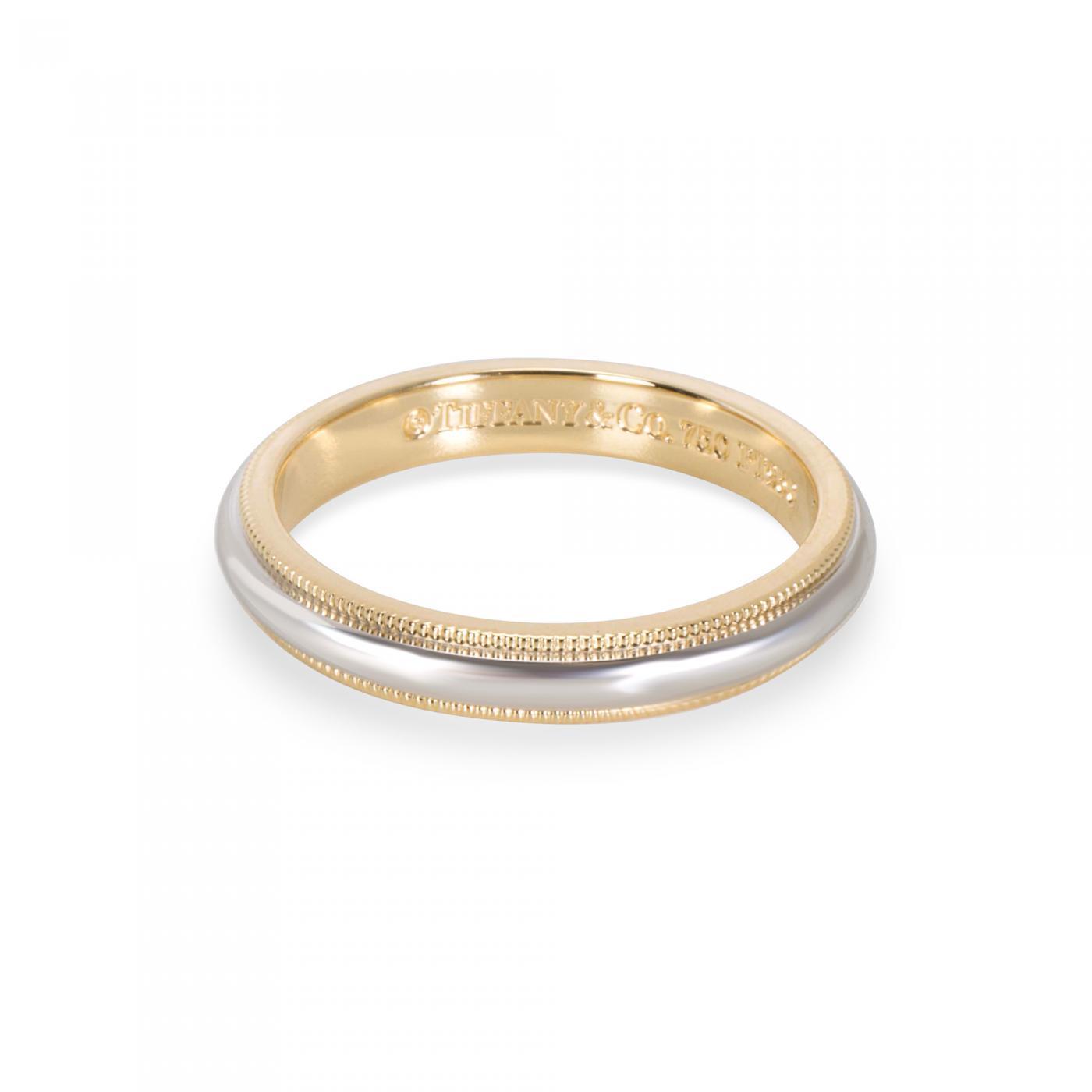 Tiffany And Co Tiffany Co Men S Milgrain Wedding Band In 18k Yellow Gold Platinum