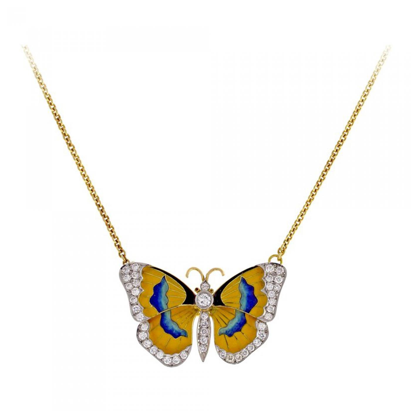 gold pendant necklace yellow jewelry sapphire s women butterfly diamond graff