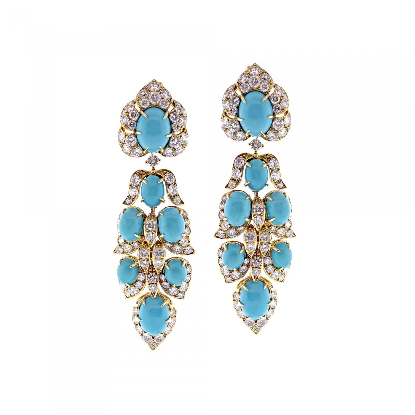 Van Cleef Arpels Turquoise Diamond Drop Earrings