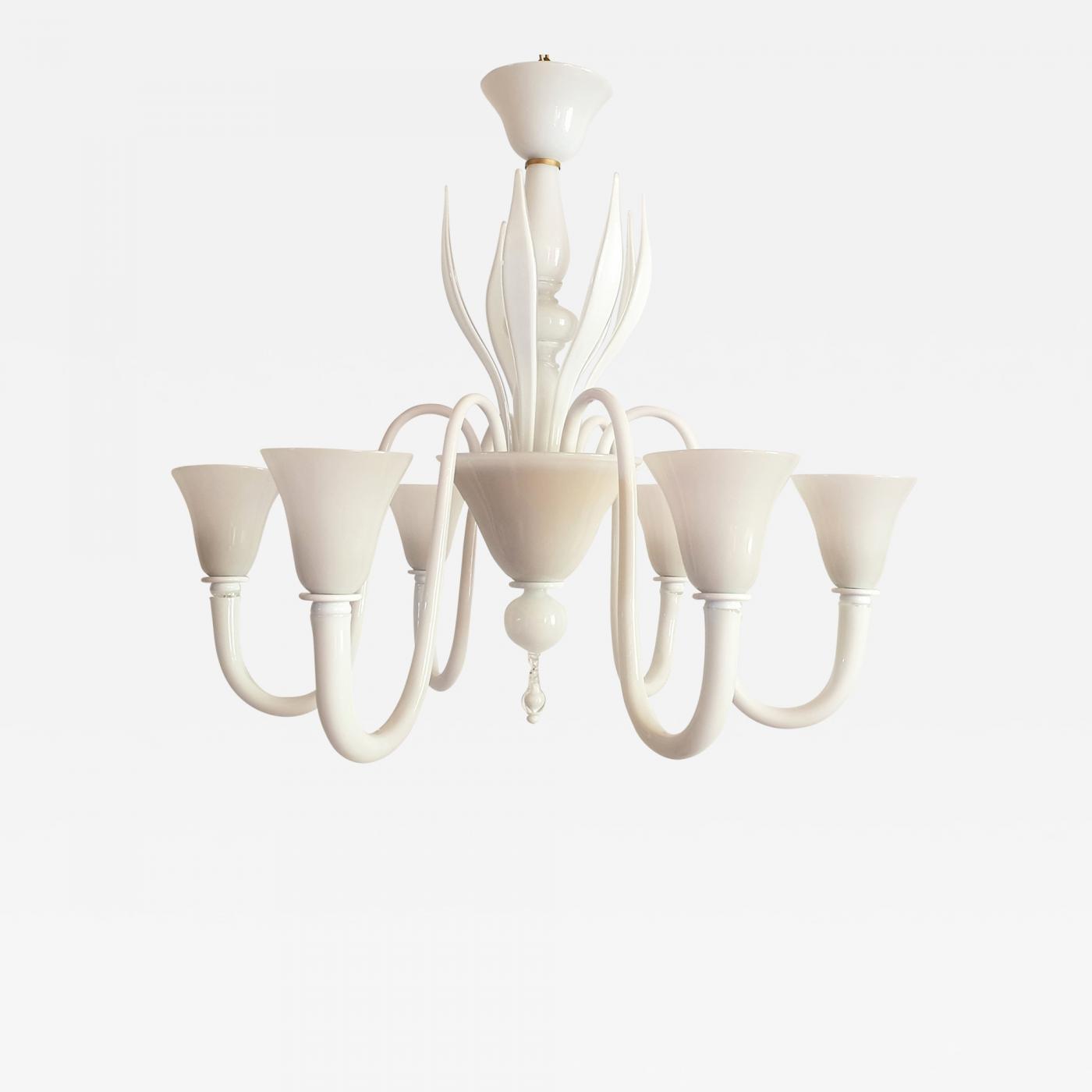 Venini Large Mid Century Modern 6 Lights Milk Murano Glass Chandelier By Venini
