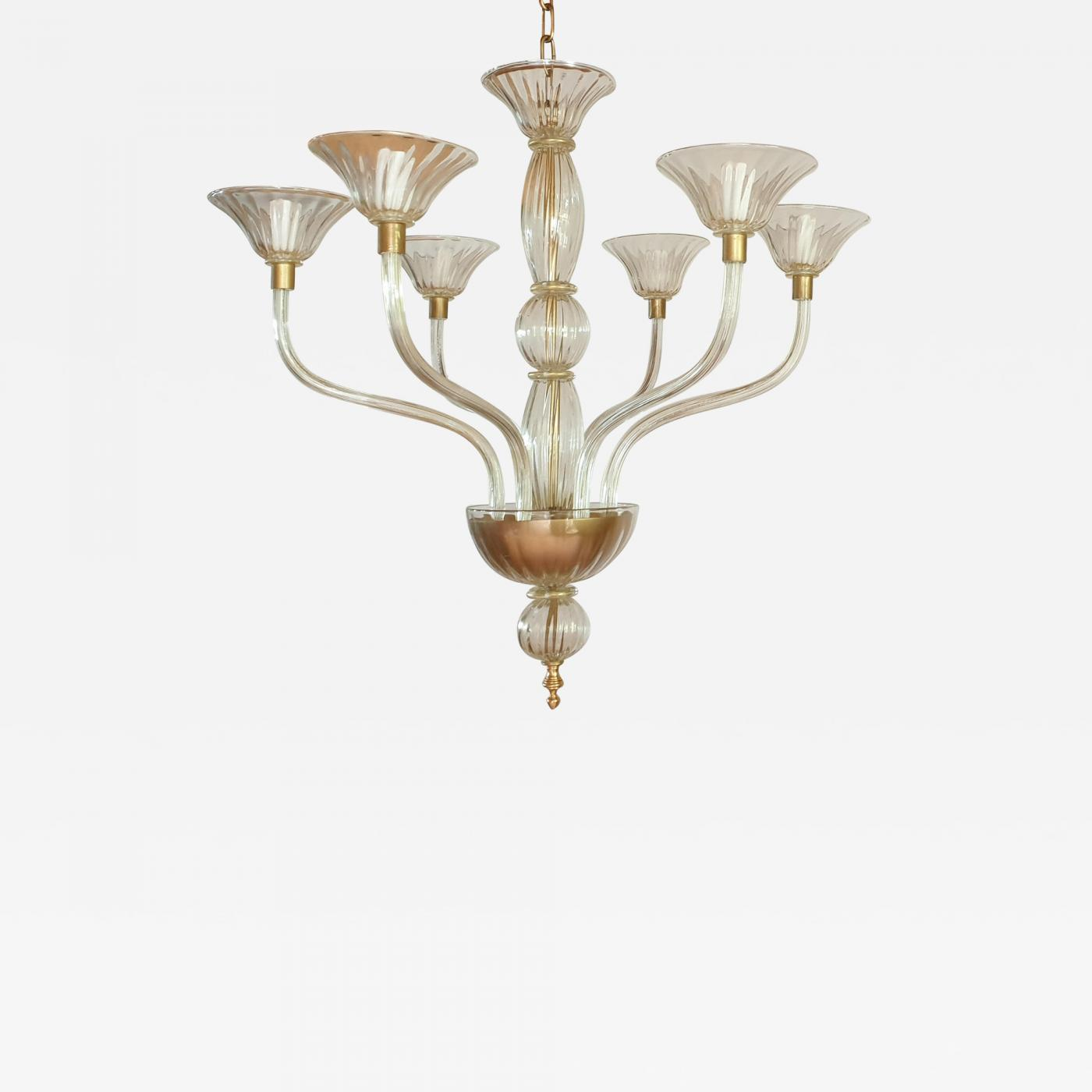 Venini Large Mid Century Modern Gold Leaf Murano Glass Chandelier Venini Style