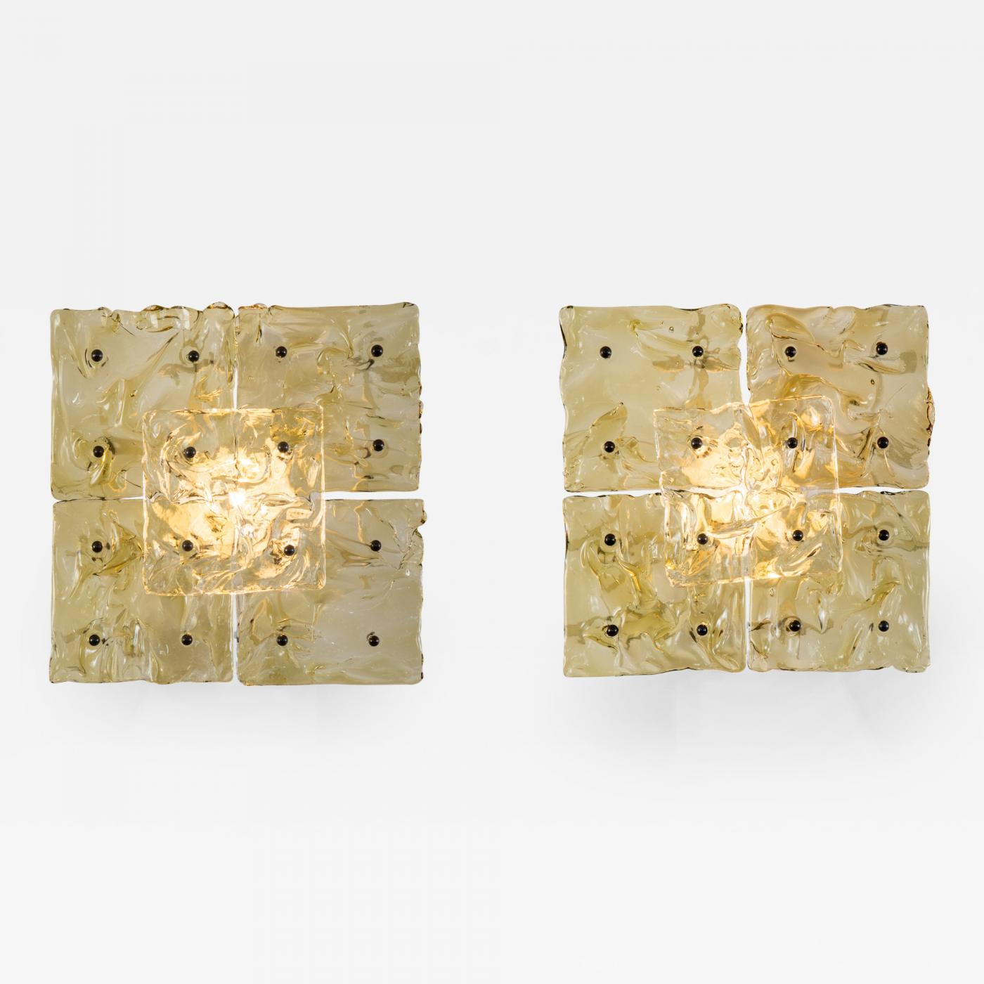 Venini - Pair of Murano Glass Patchwork Ceiling / Sconces