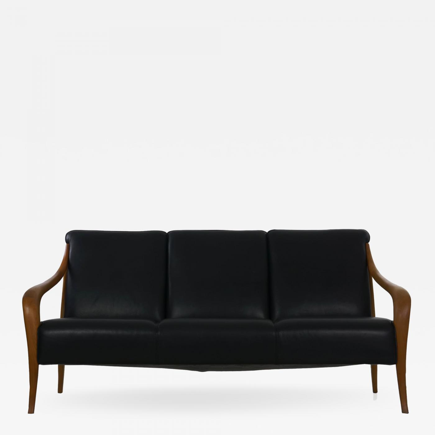 Wagner - Danish Mid Century Modern Style Sculpted Teak Black Leather Sofa  by Wagner