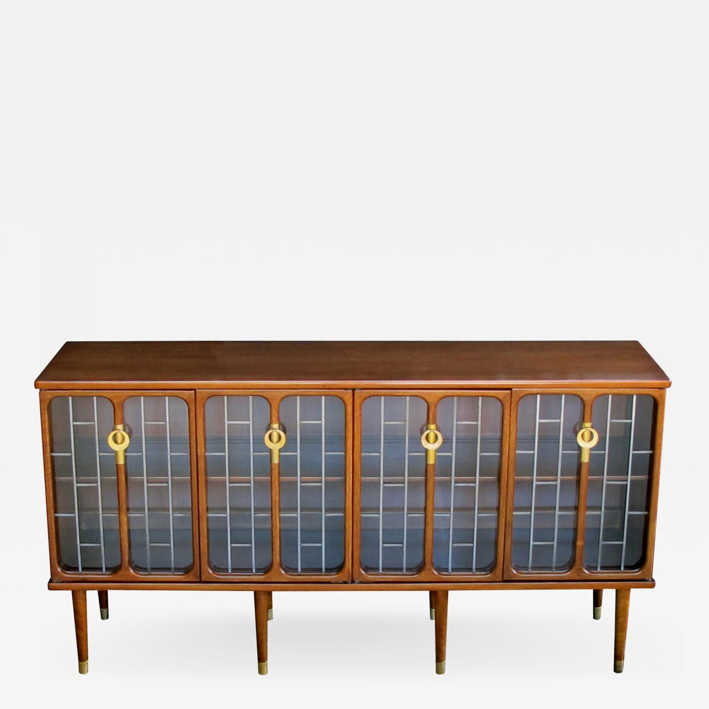 White Furniture Company A Sophisticated American Mid Century Modern Walnut 4 Door Credenza