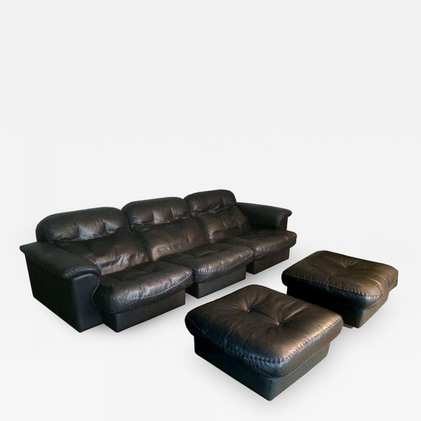 de Sede - De Sede 3 Seater Sofa in Black Leather