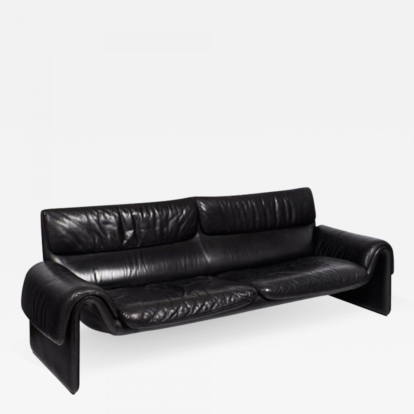 de Sede - Vintage De Sede Black Leather Sofa