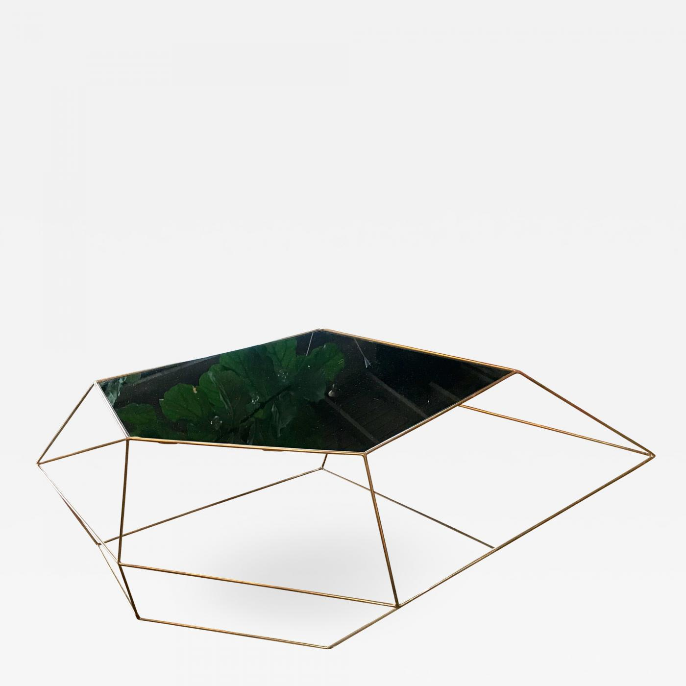 Italian Glass Coffee Table.Ma 39 Ma 39 Italian Rhomboidal Sculptural Brass And Glass Coffee Table