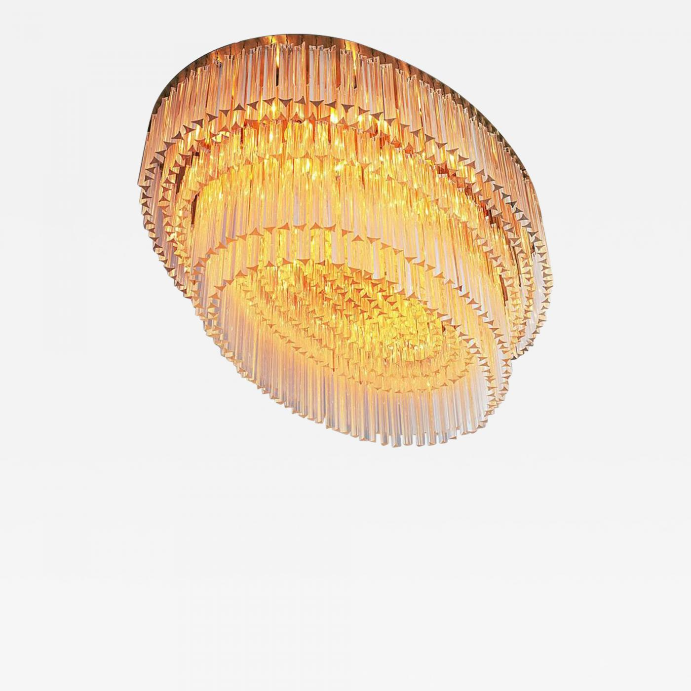 low priced fe2db b6e50 1 of 2 Italian Extra Large Flush Mount Chandeliers with Murano Glass