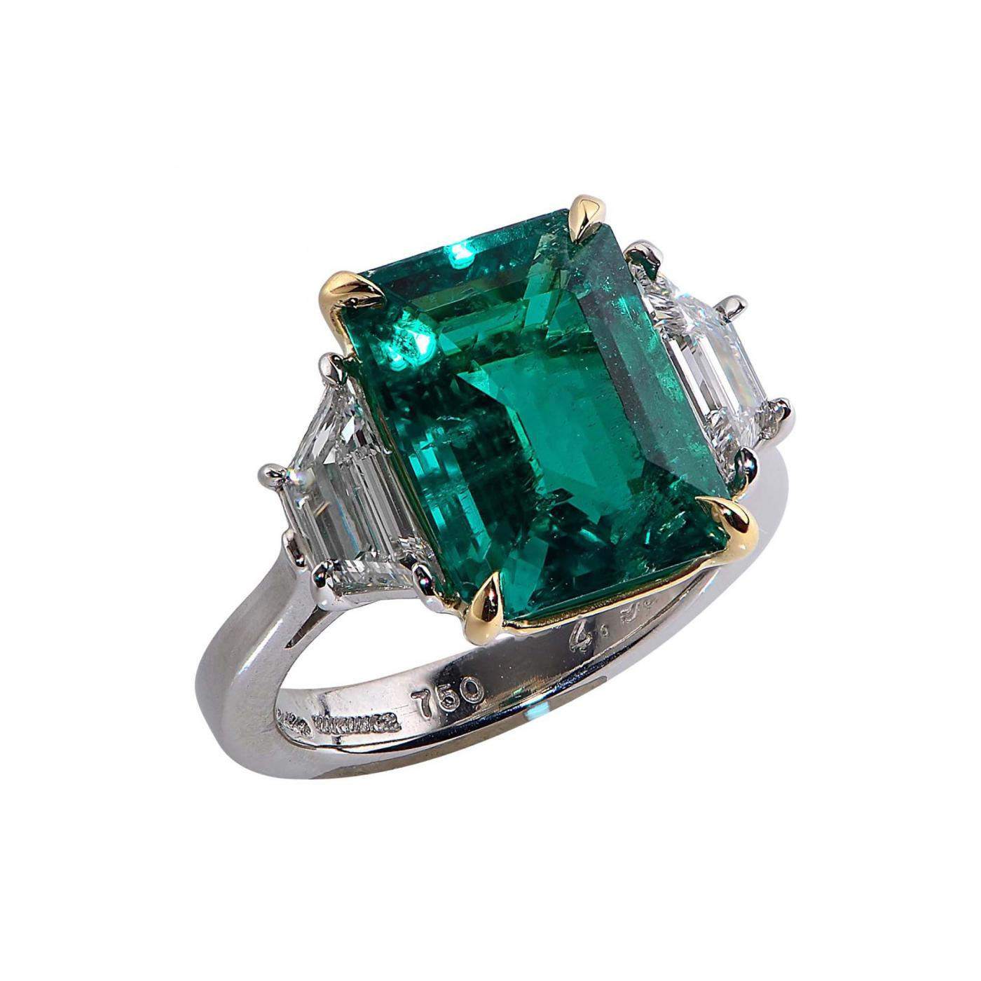 white cut i halo three diamond ring emerald engagement gia certified