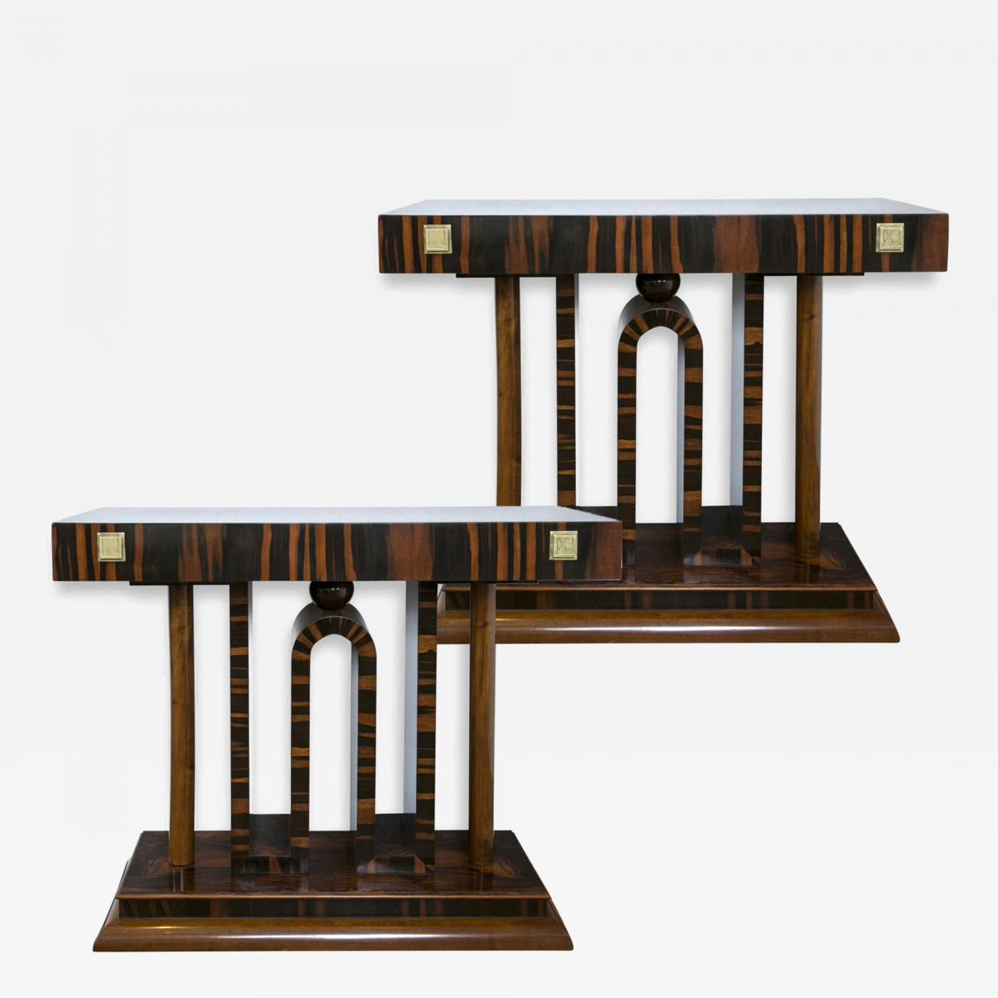 stunning pair art deco console tables. Black Bedroom Furniture Sets. Home Design Ideas
