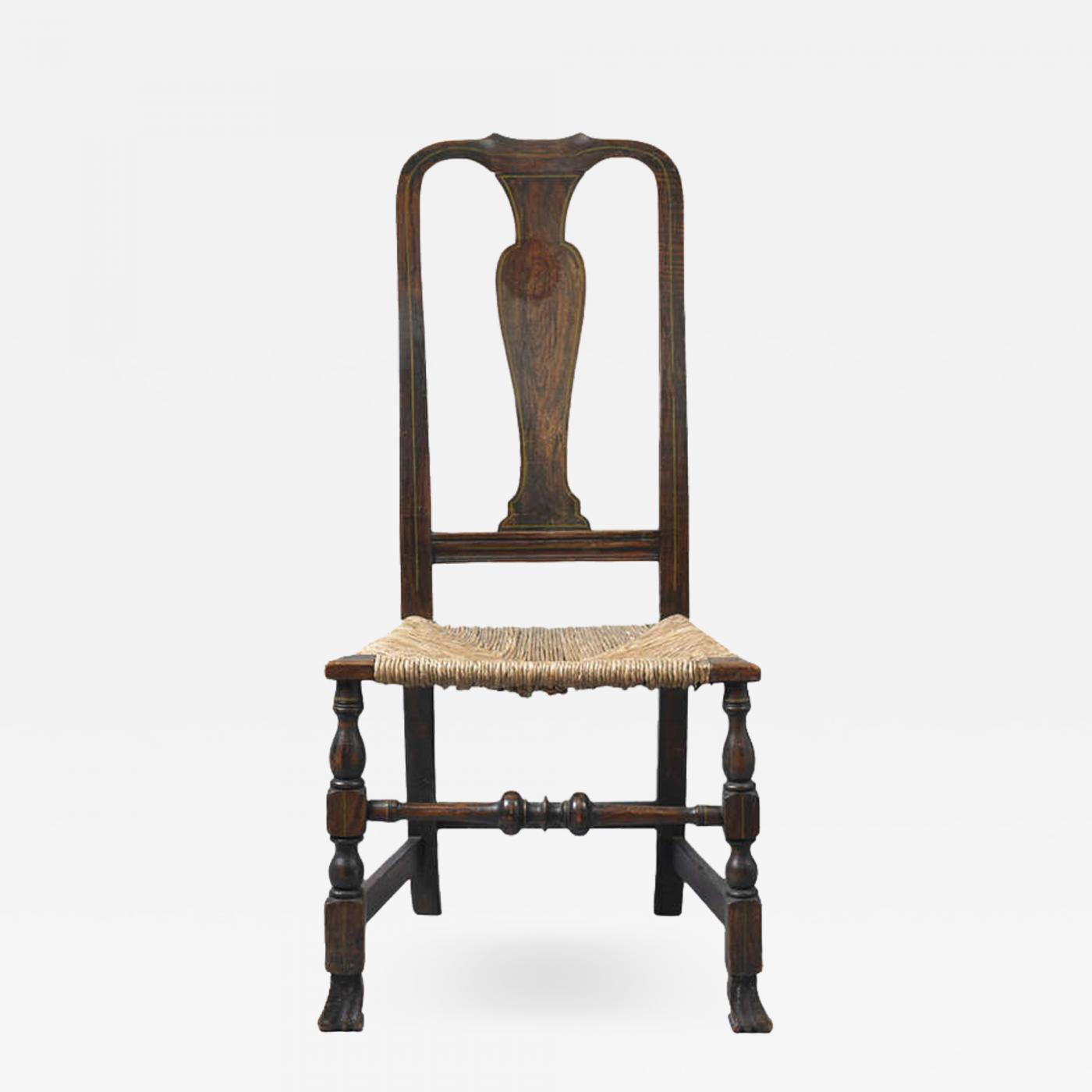Early Queen Anne Grain Painted Spanish Foot Side Chair, c  1740-1750