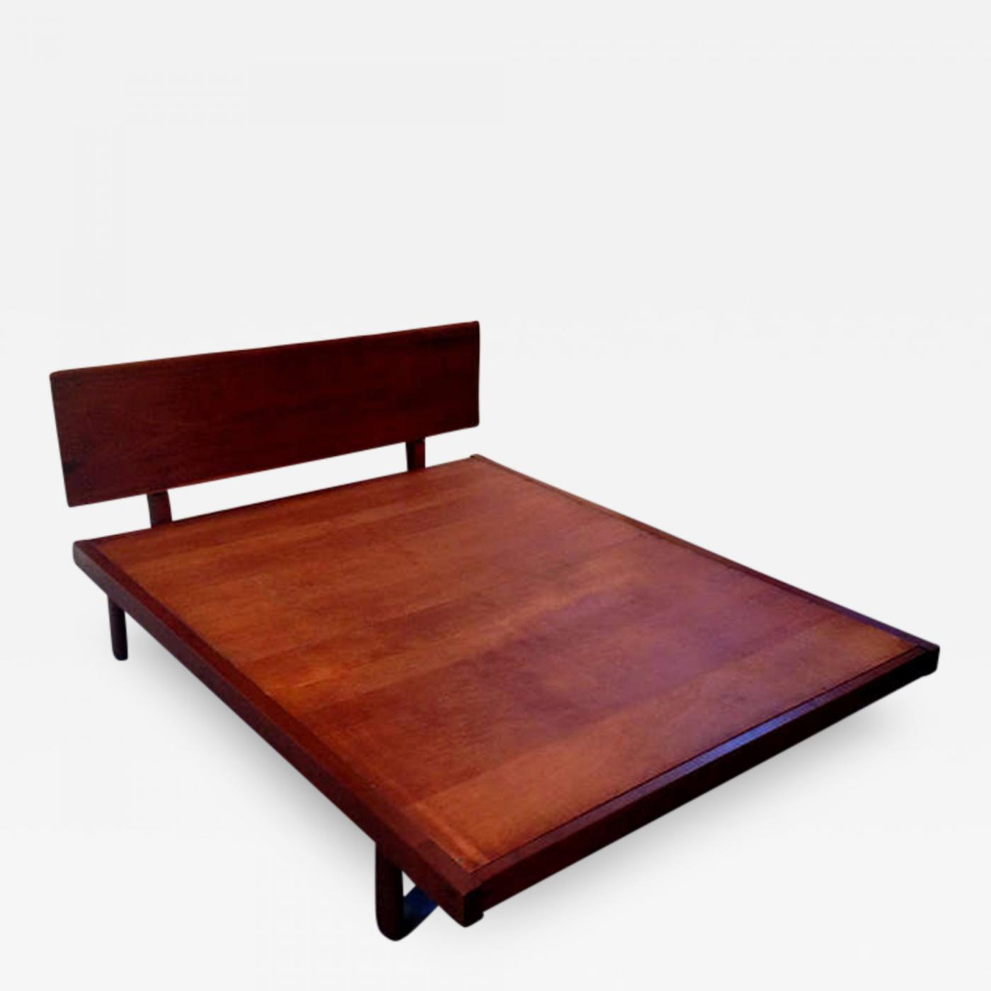 George Nakashima Platform Bed With Walnut Headboard