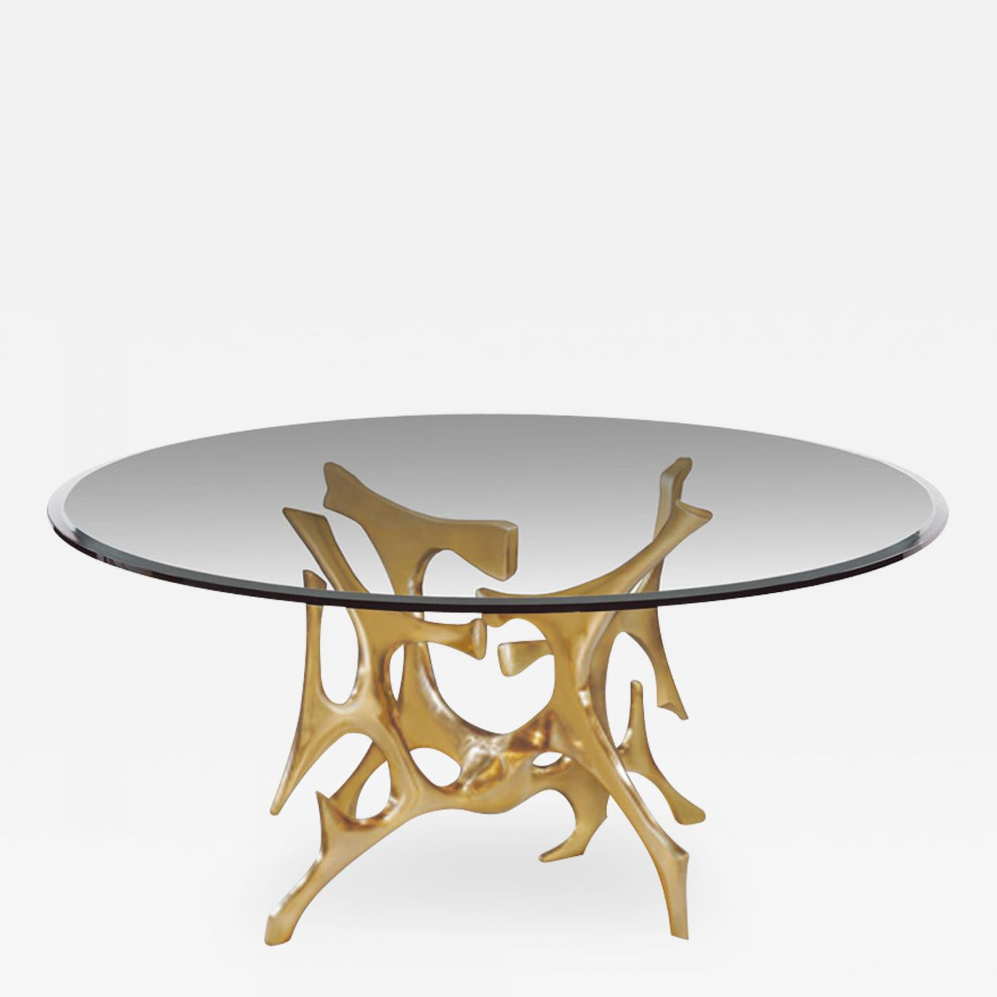 Fred Brouard Signed Fred Brouard Abstract Gilt Bronze Dining Table Base 1970s