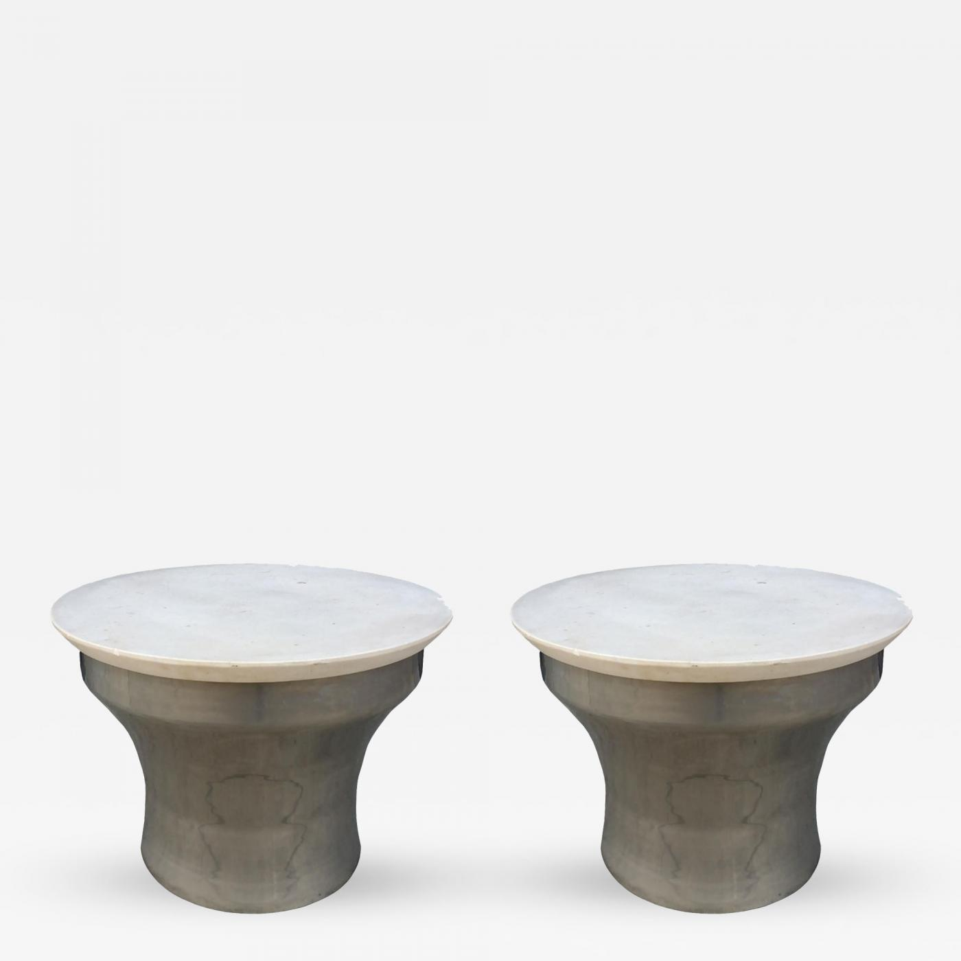 Rain Drum Side Tables In Polished Steel And Marble Karl