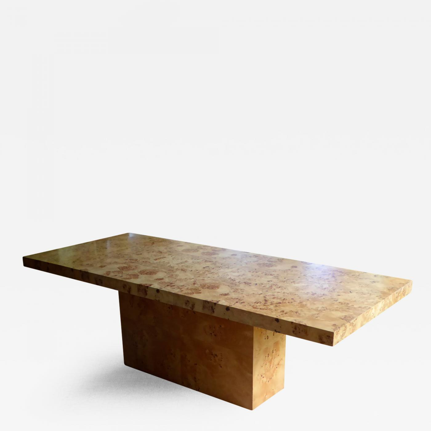 Milo Baughman 1970s Burl Olive Wood Dining Table by Milo