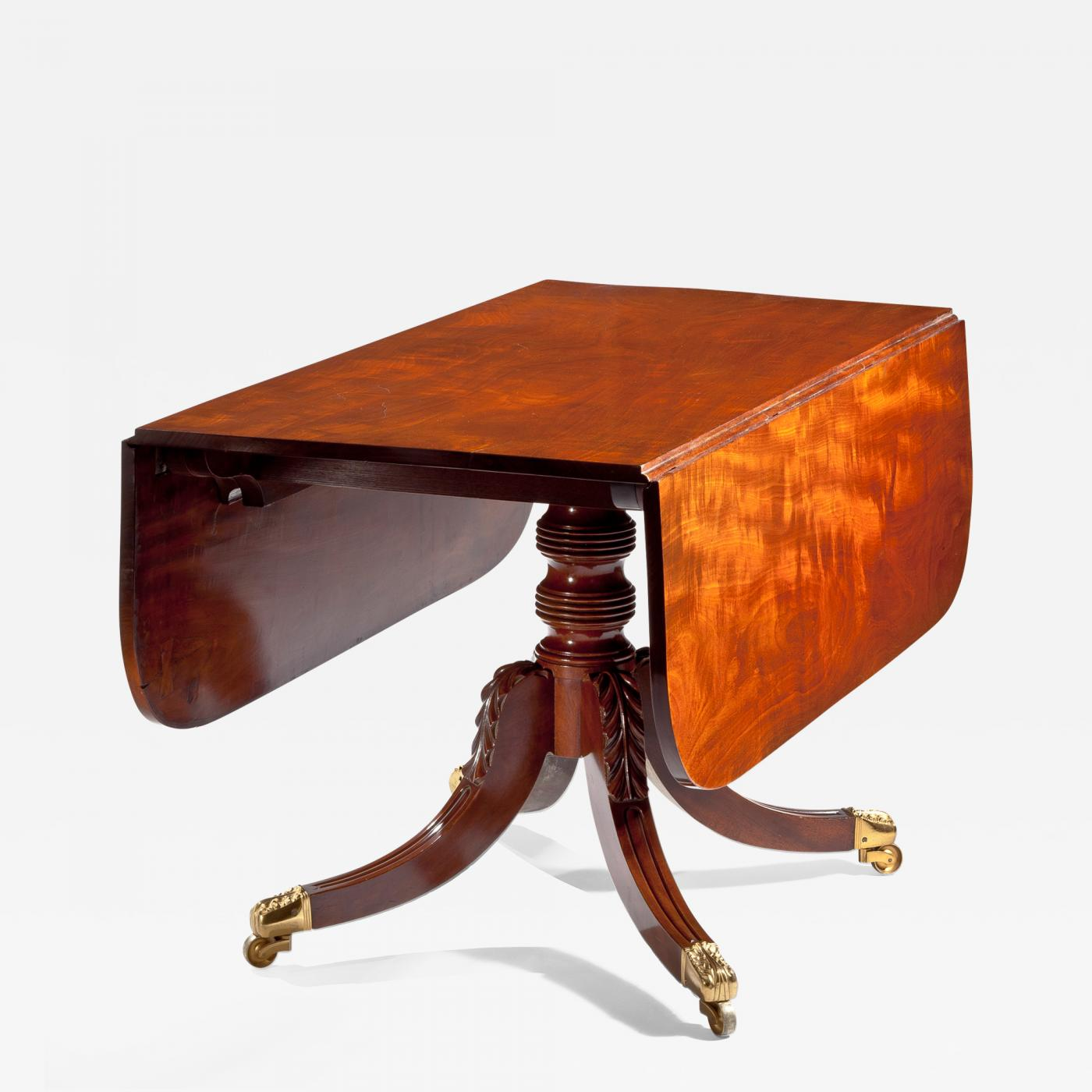 Duncan Phyfe Round Table With Drawer.Duncan Phyfe Fine Sheraton Carved Mahogany Drop Leaf Dining