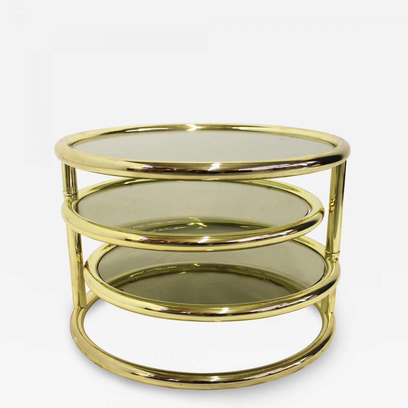 Milo Baughman Circular Three Tier Swivel Coffee Table