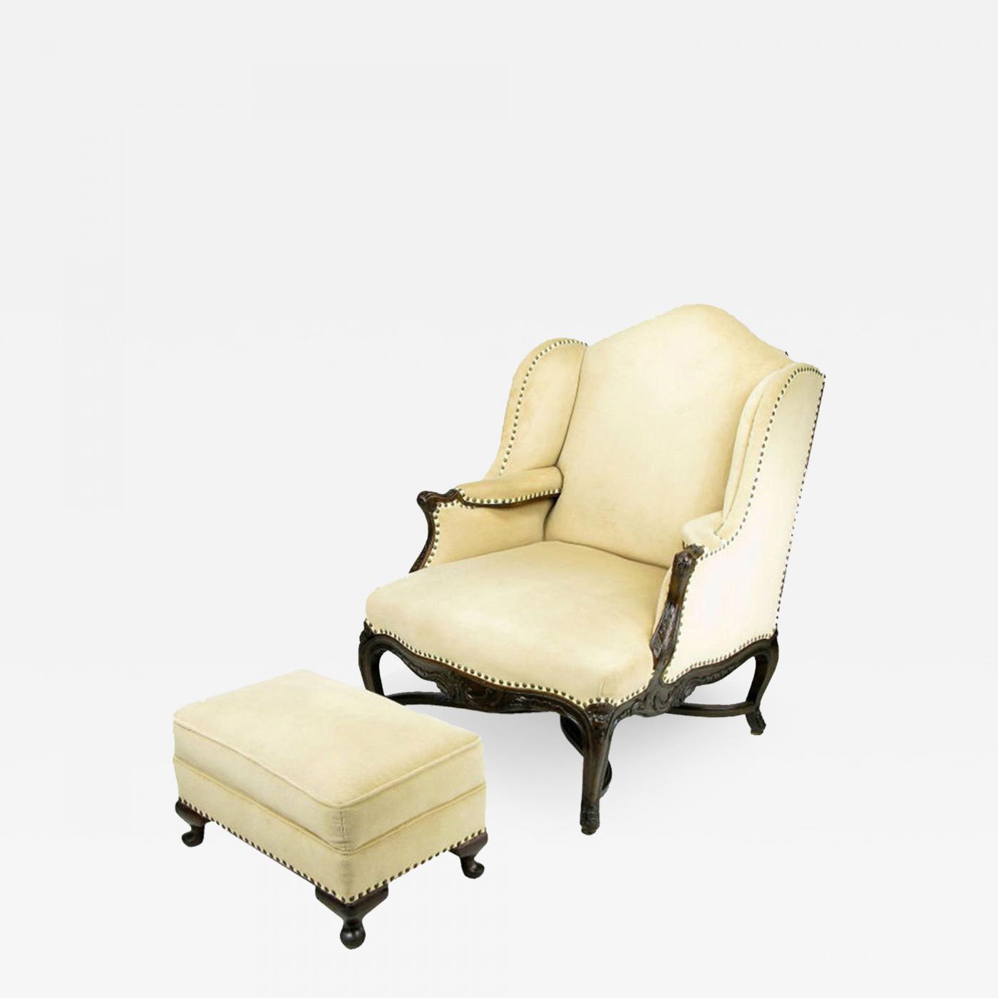 1940s Regence Wing Back Arm Chair Ottoman In Camel Velvet Usa