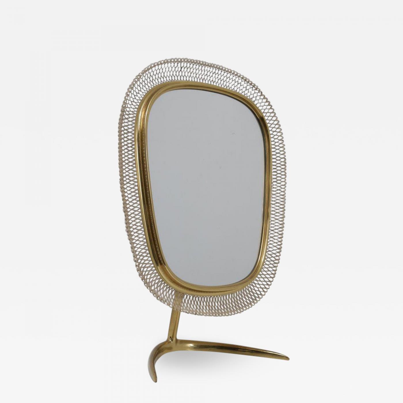 Vereinigte Werkstatten Fur Kunst Im Handwerk Brass Vanity Mirror Germany 1950