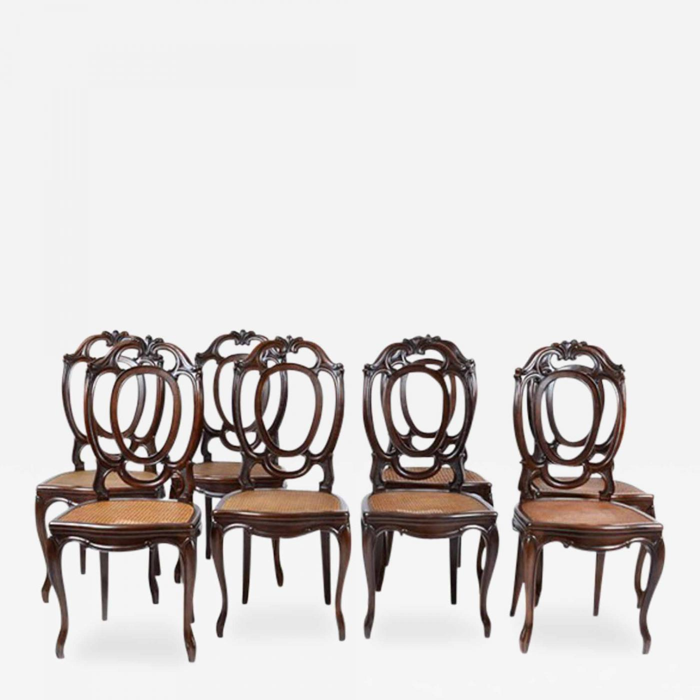 1920 s Antique Italian Set of 8 Dining Chairs Mahogany