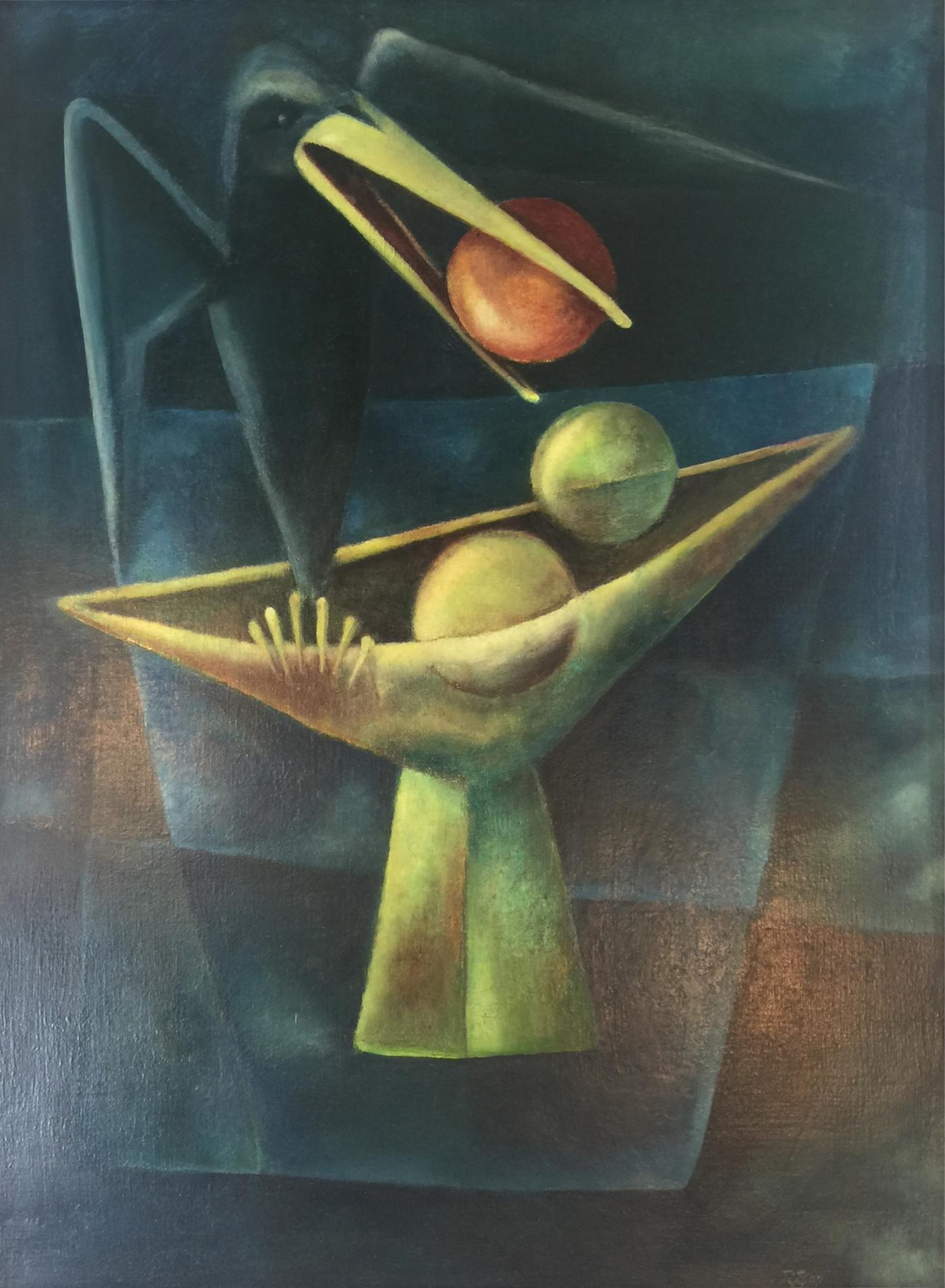 1940 S Cubist Oil Painting Of Black Bird With Bowl Of Fruit