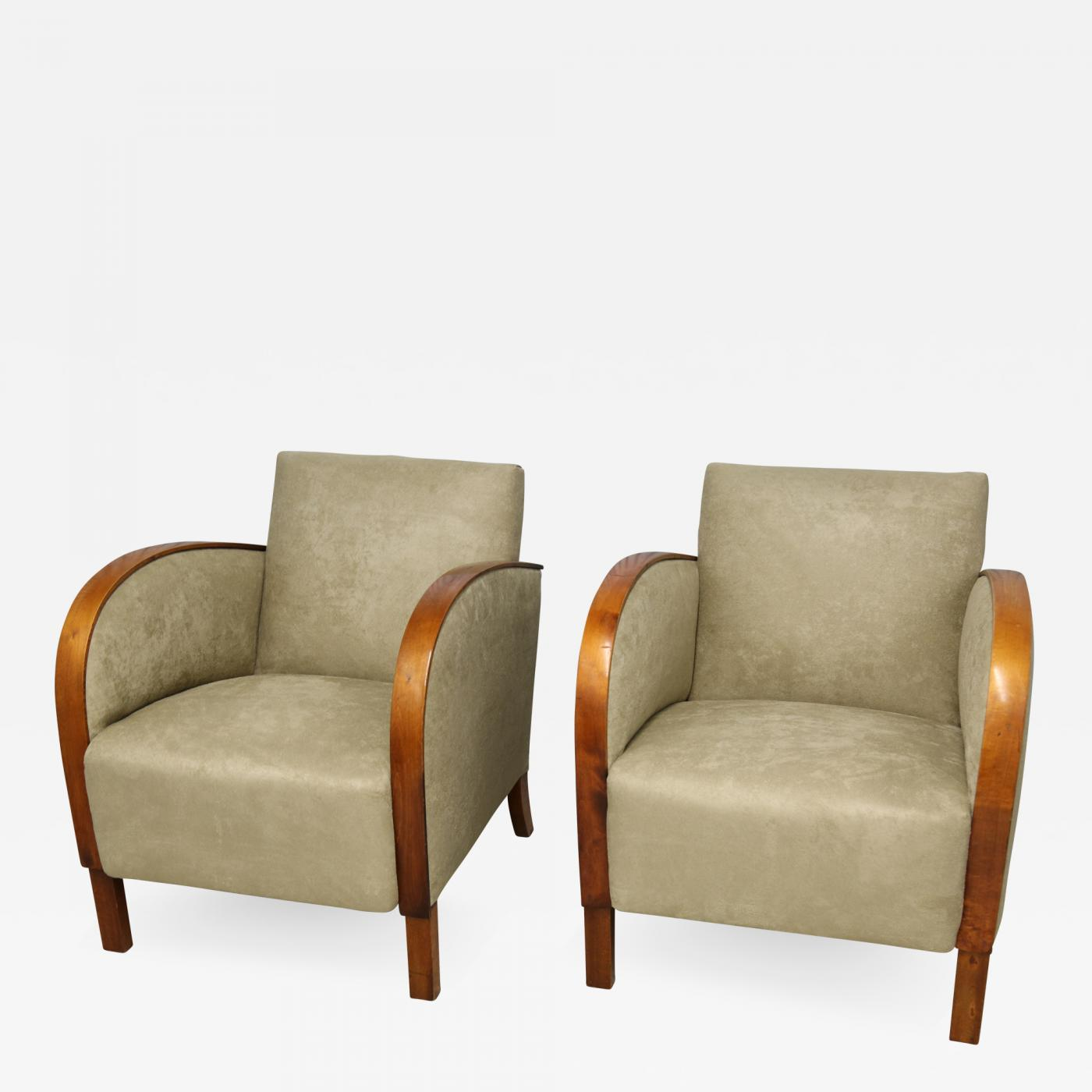 1940s Taupe Art Deco Swedish Club Chairs A Pair