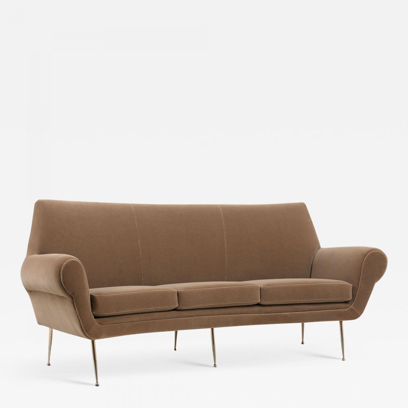 1960s Italian Modern Velvet Mohair Sofa