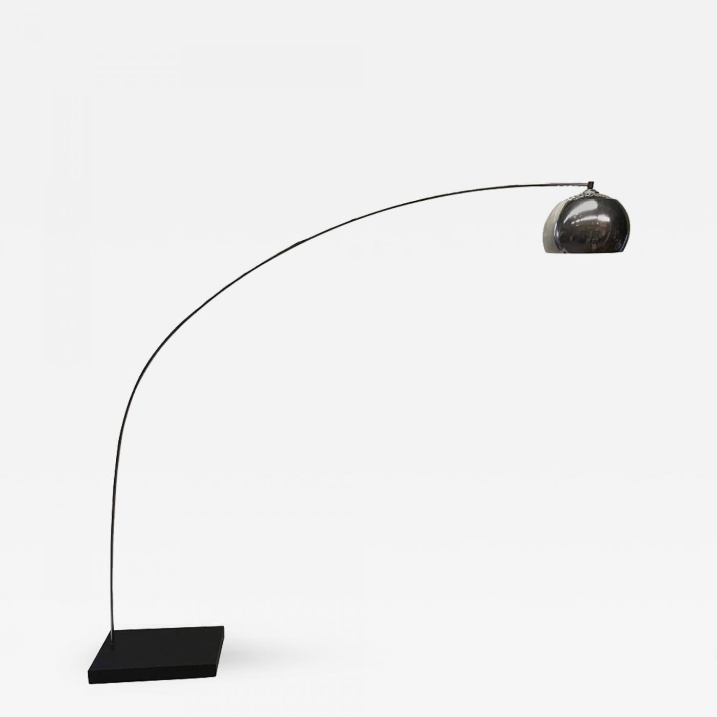 1970s chrome arc floor lamp. Black Bedroom Furniture Sets. Home Design Ideas