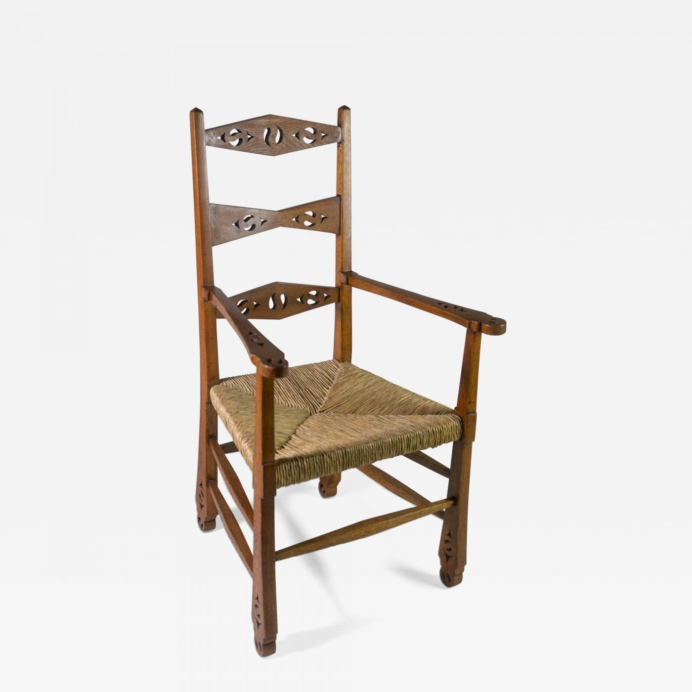 19th C English Arts Crafts Oak Wood Chair With A Rush Seat
