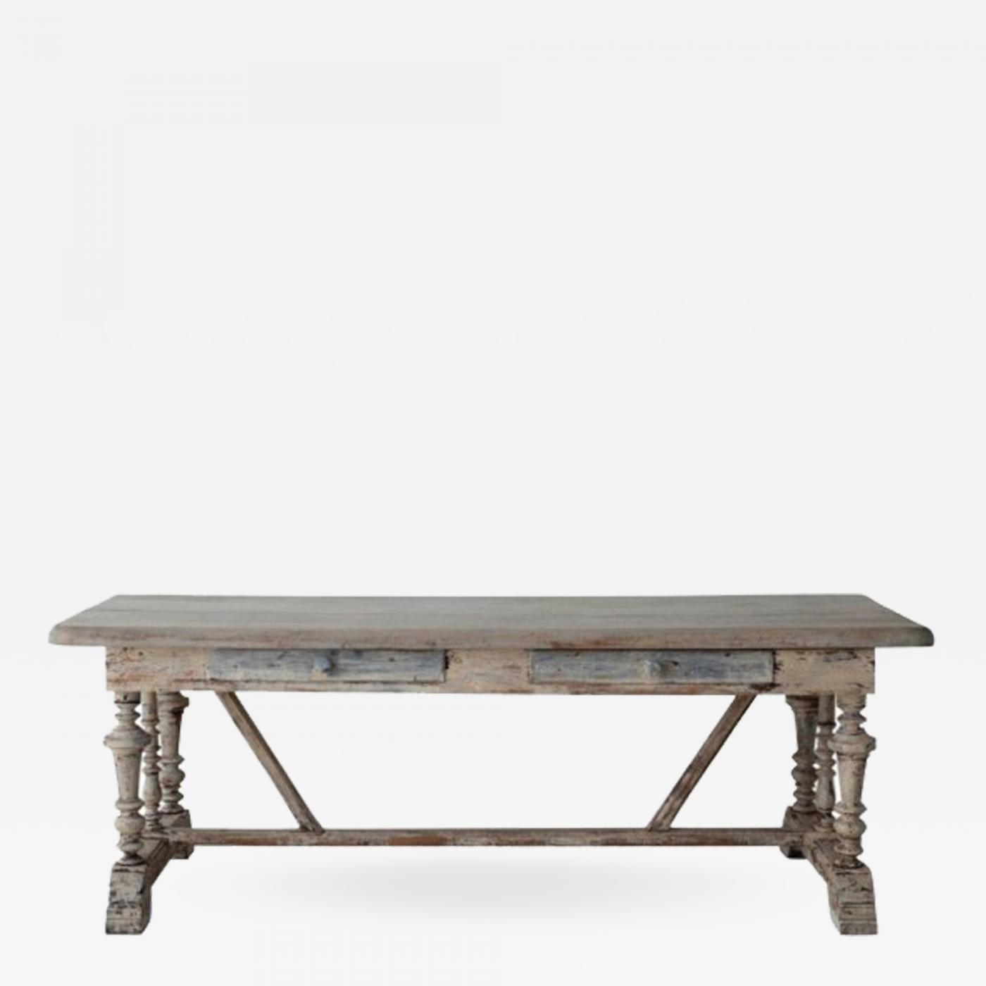 Listings / Furniture / Tables / Dining Tables · 19th Century French Painted  Monastery Trestle Table