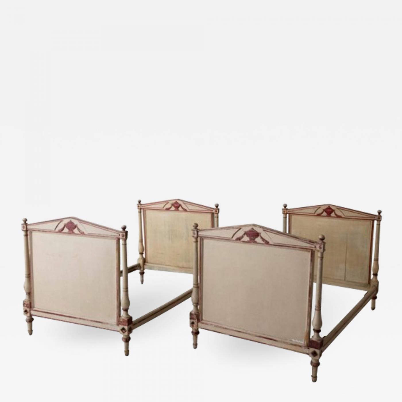 19th Century French Pair Of Directoire Style Twin Bed Frames In Original Paint