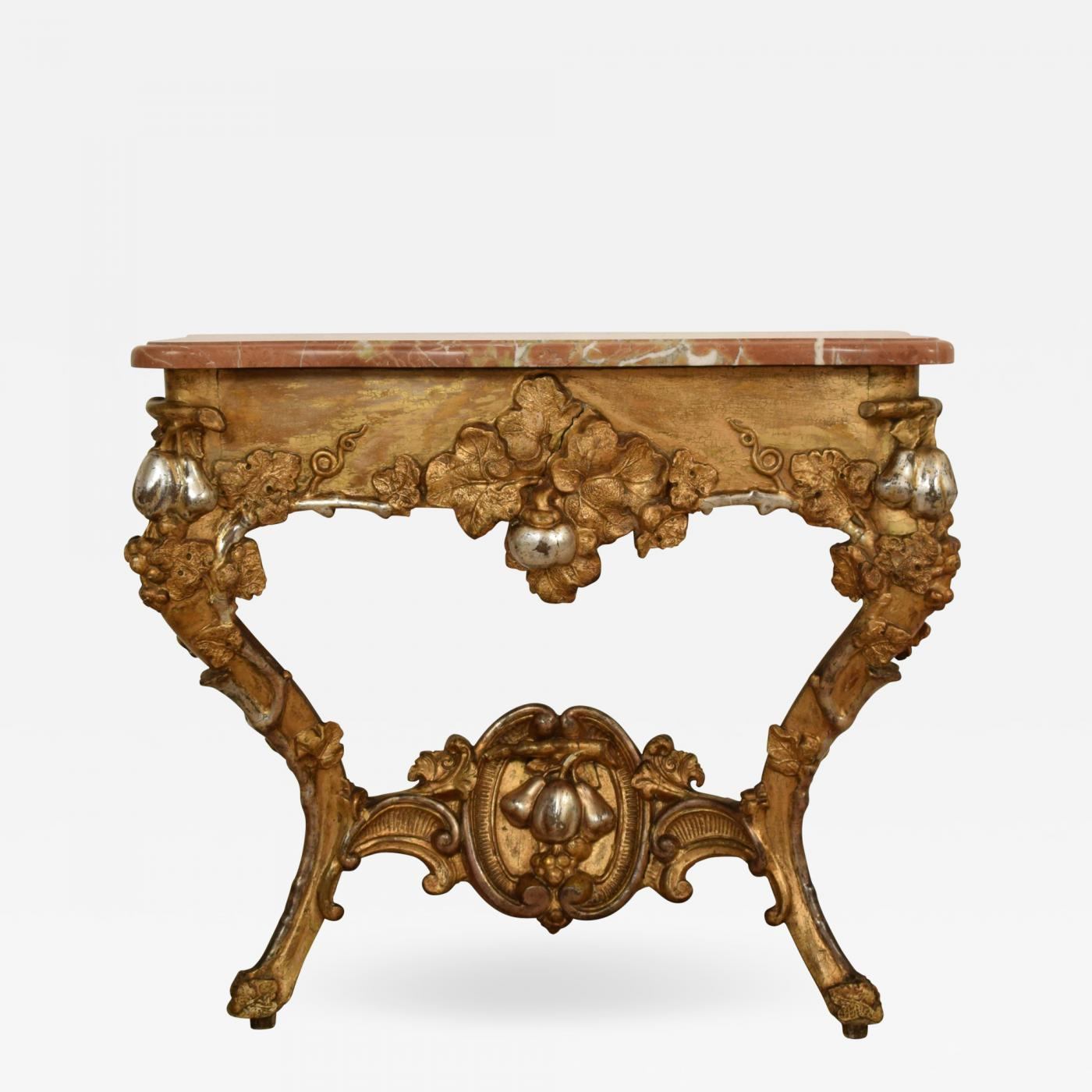 19th Century Gilded And Silvered Console Table With A Marble Top