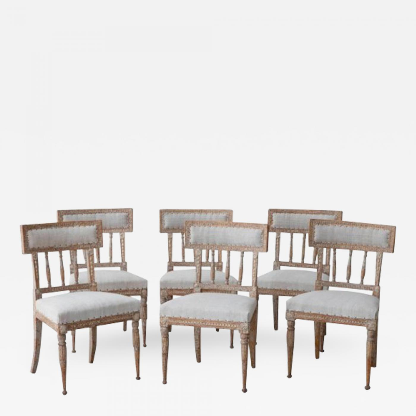 19th Century Set Of Six Swedish Gustavian Period Chairs In Original