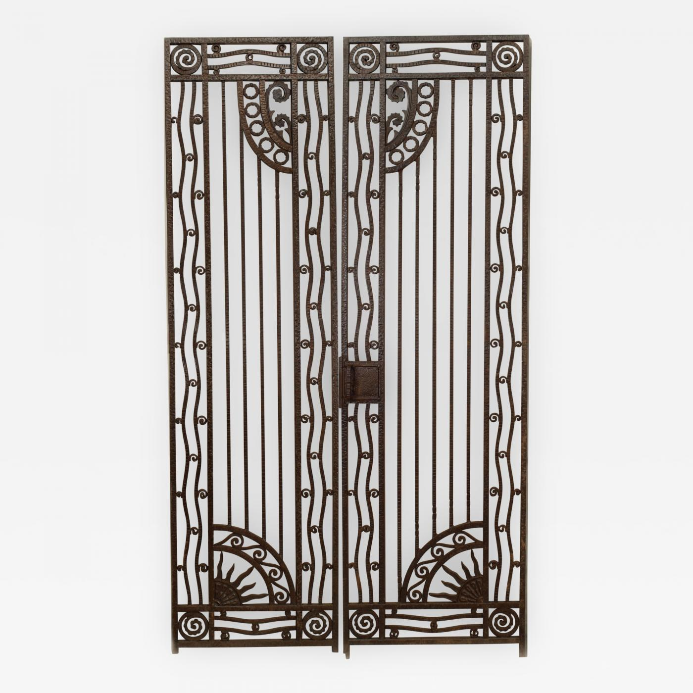 Art Deco Ornamental Ironwork: 2 Pair Of French Art Deco Wrought Iron Gates