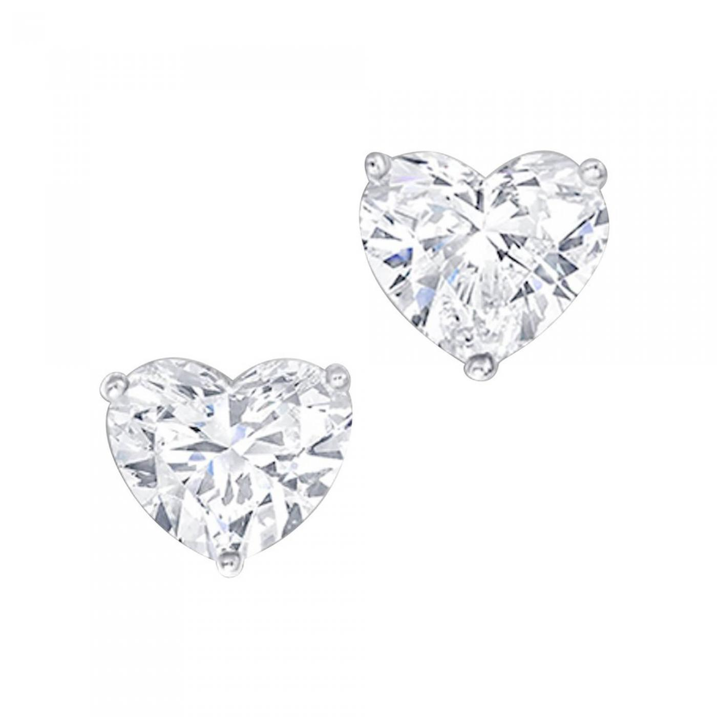 earrings h white gold i si diamond in shape heart rectangular