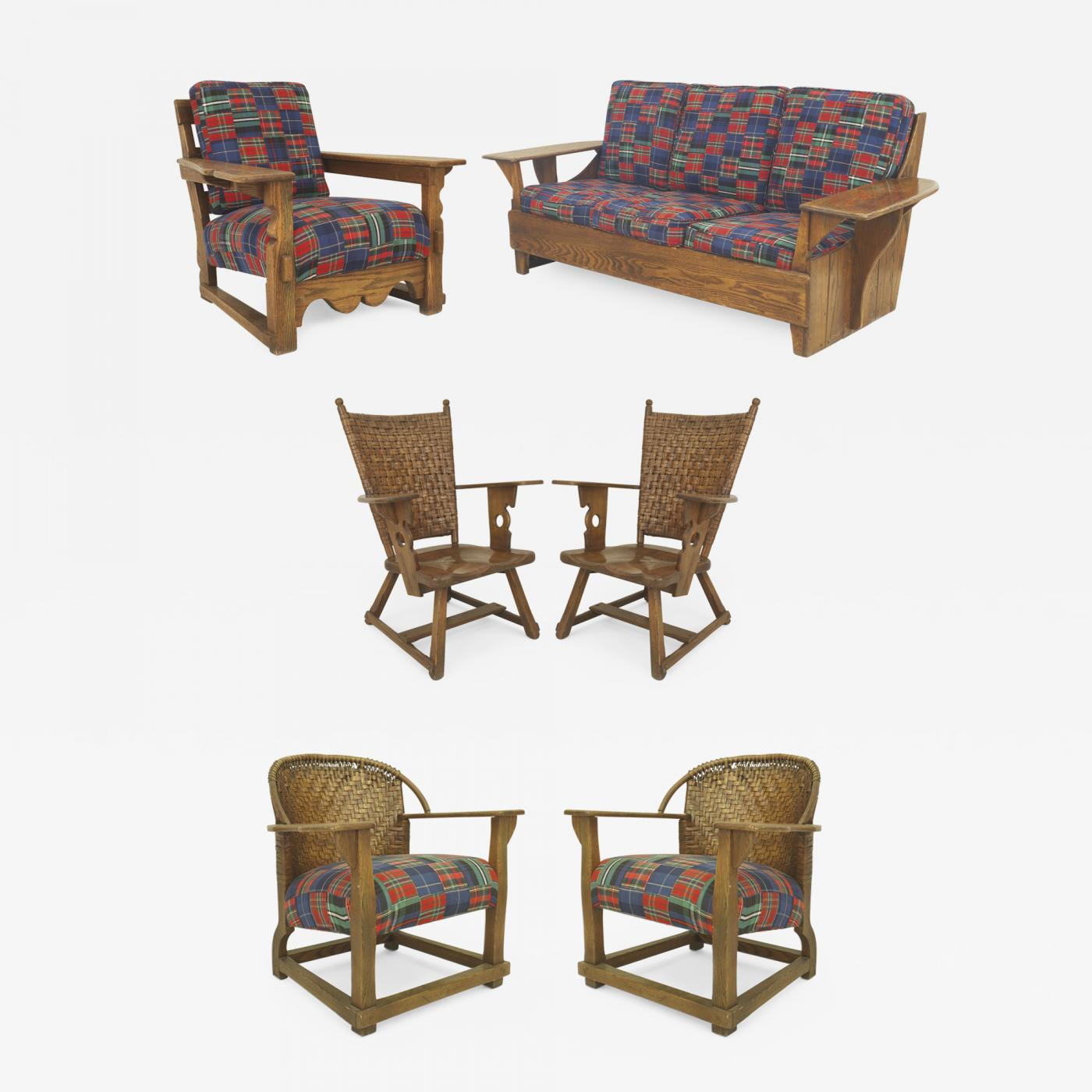6-Piece Rustic Old Hickory Mission-Style Living Room Set