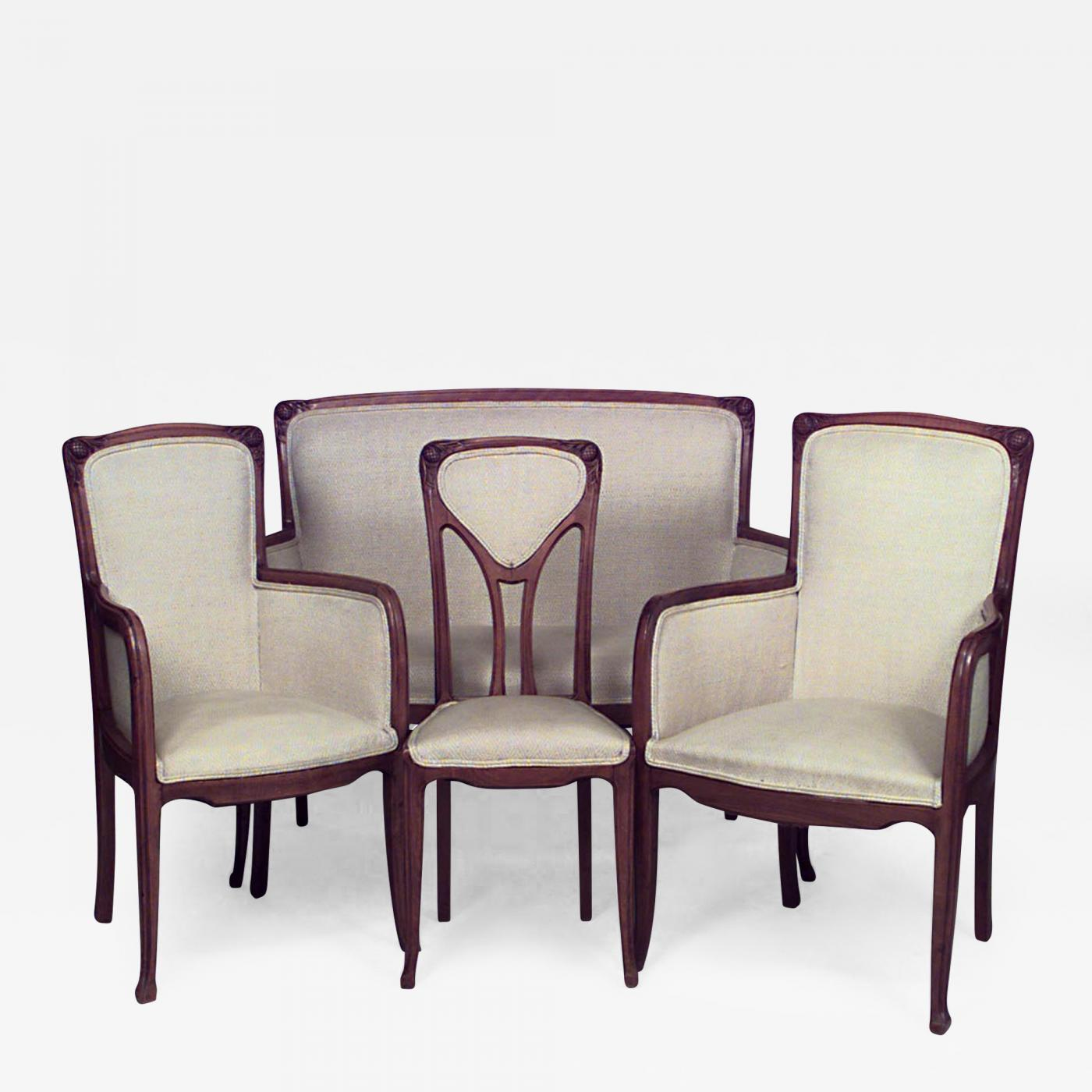 7 Piece French Art Nouveau Living Room Set