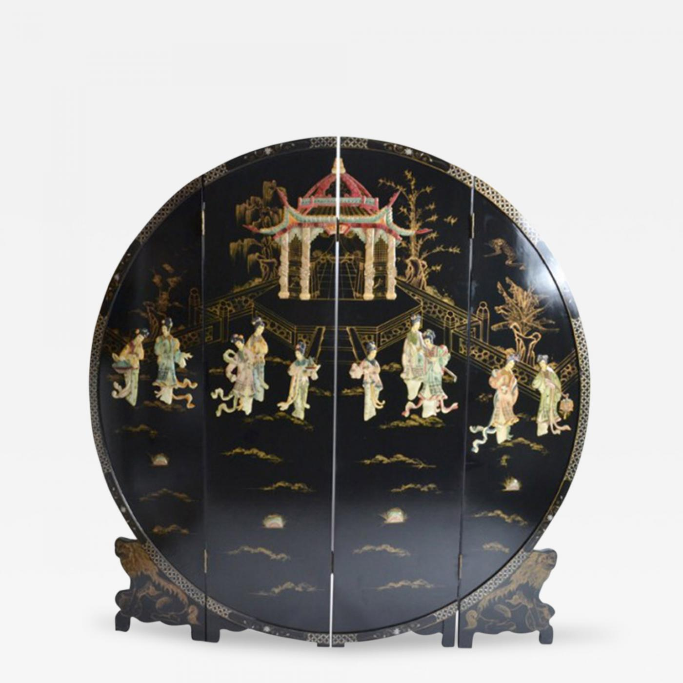A Chinese Round Black Lacquer Screen