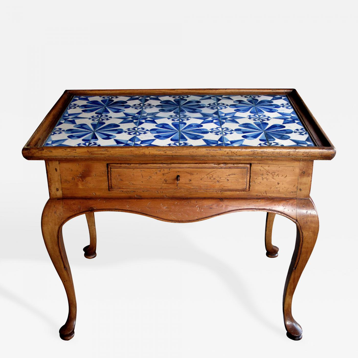 A Danish Rococo Style Stripped Pine Side Table with Delft Tile Top