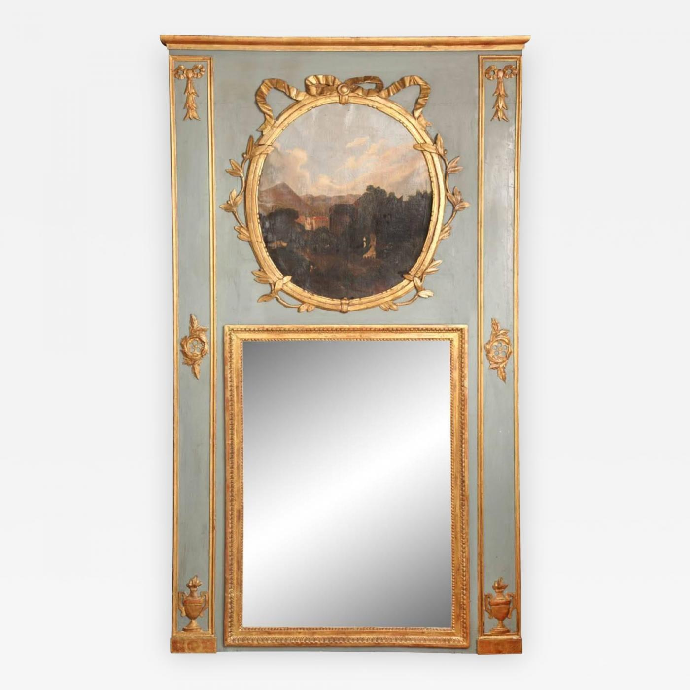 a french louis xvi style trumeau mirror. Black Bedroom Furniture Sets. Home Design Ideas