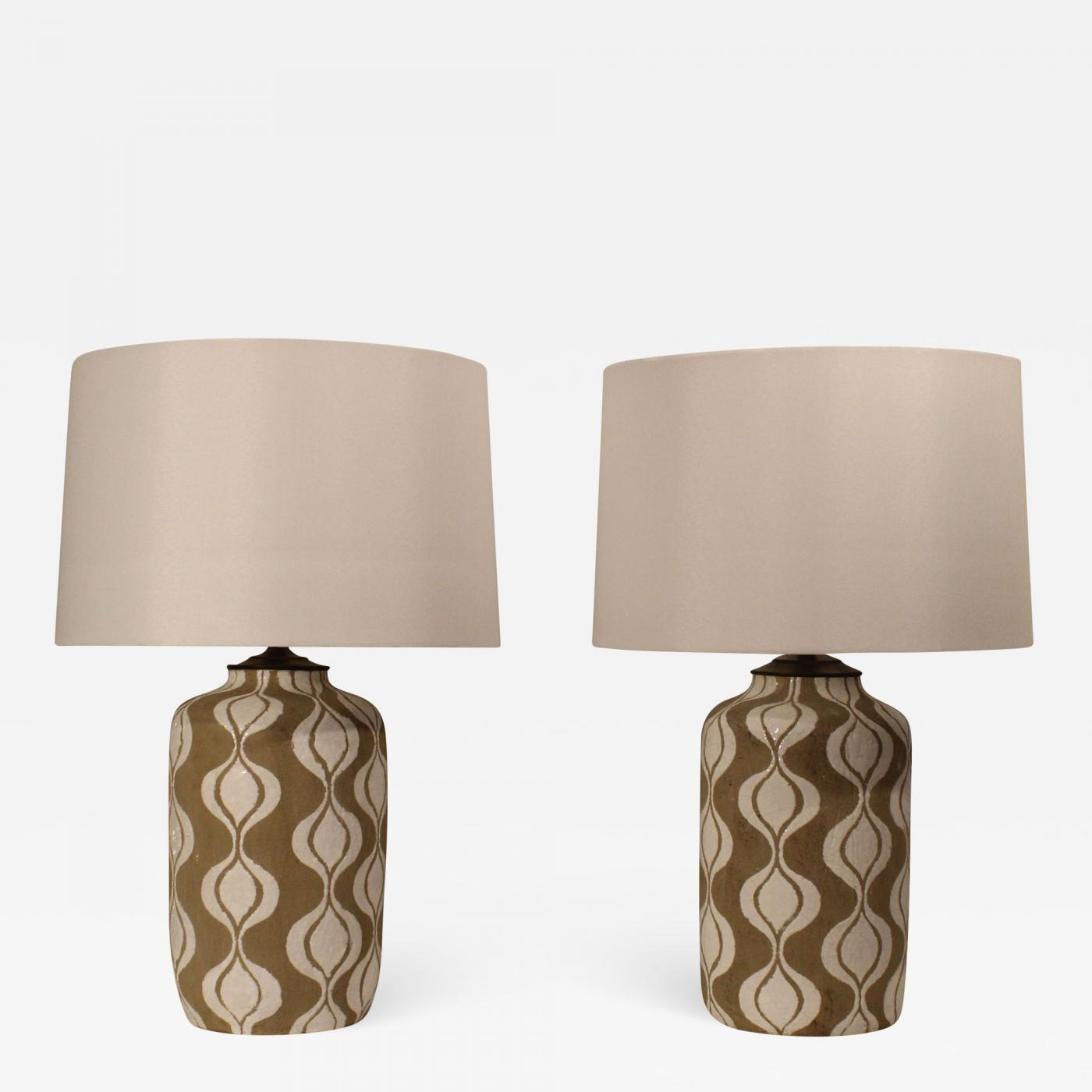 Image of: A Pair Of Embossed Mid Century Modern Table Lamps