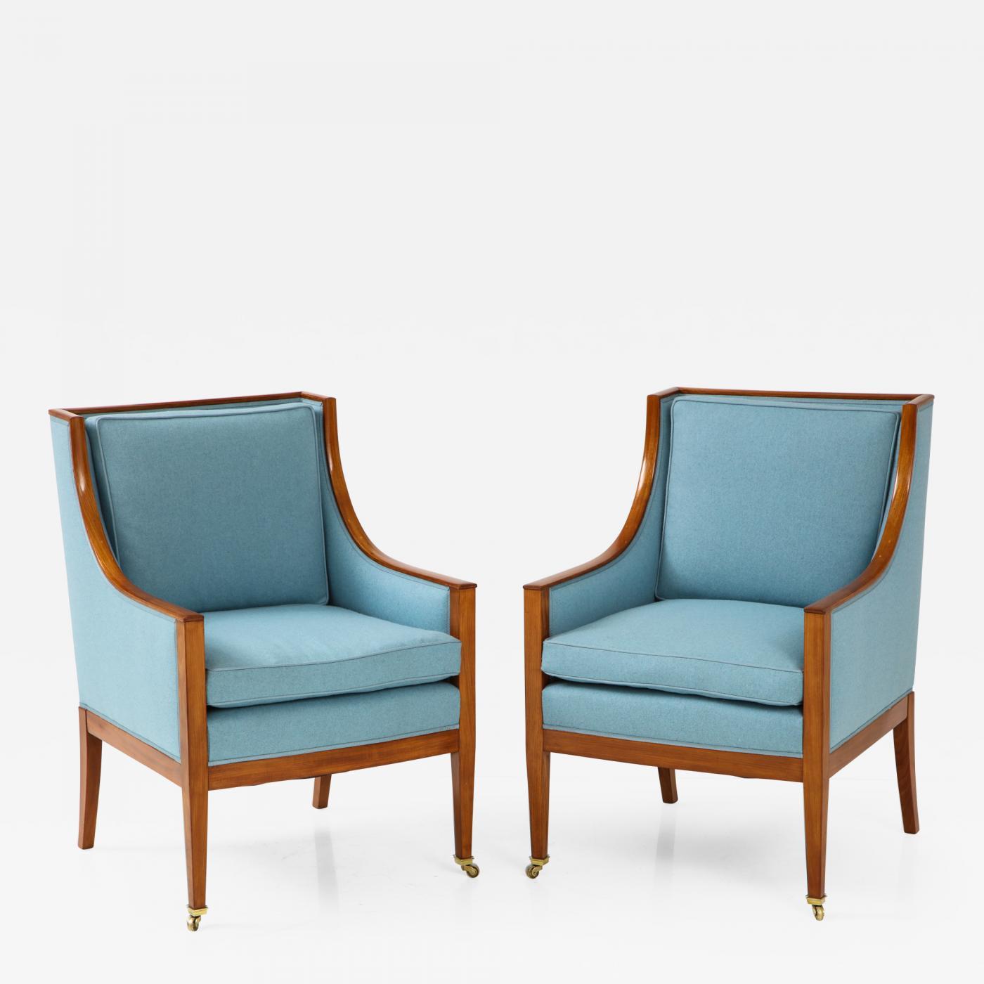 A Pair Of Swedish Mahogany Upholstered Armchairs Circa 1930