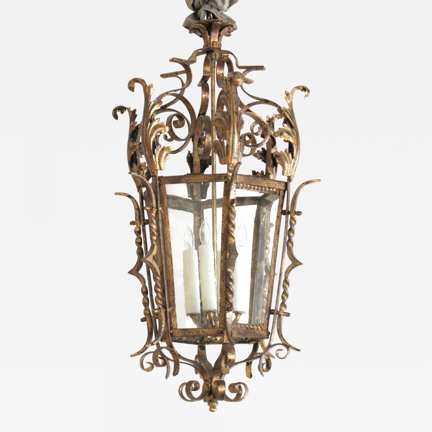 A Shapely Venetian Rococo Style Gilt Wrought Iron Lantern