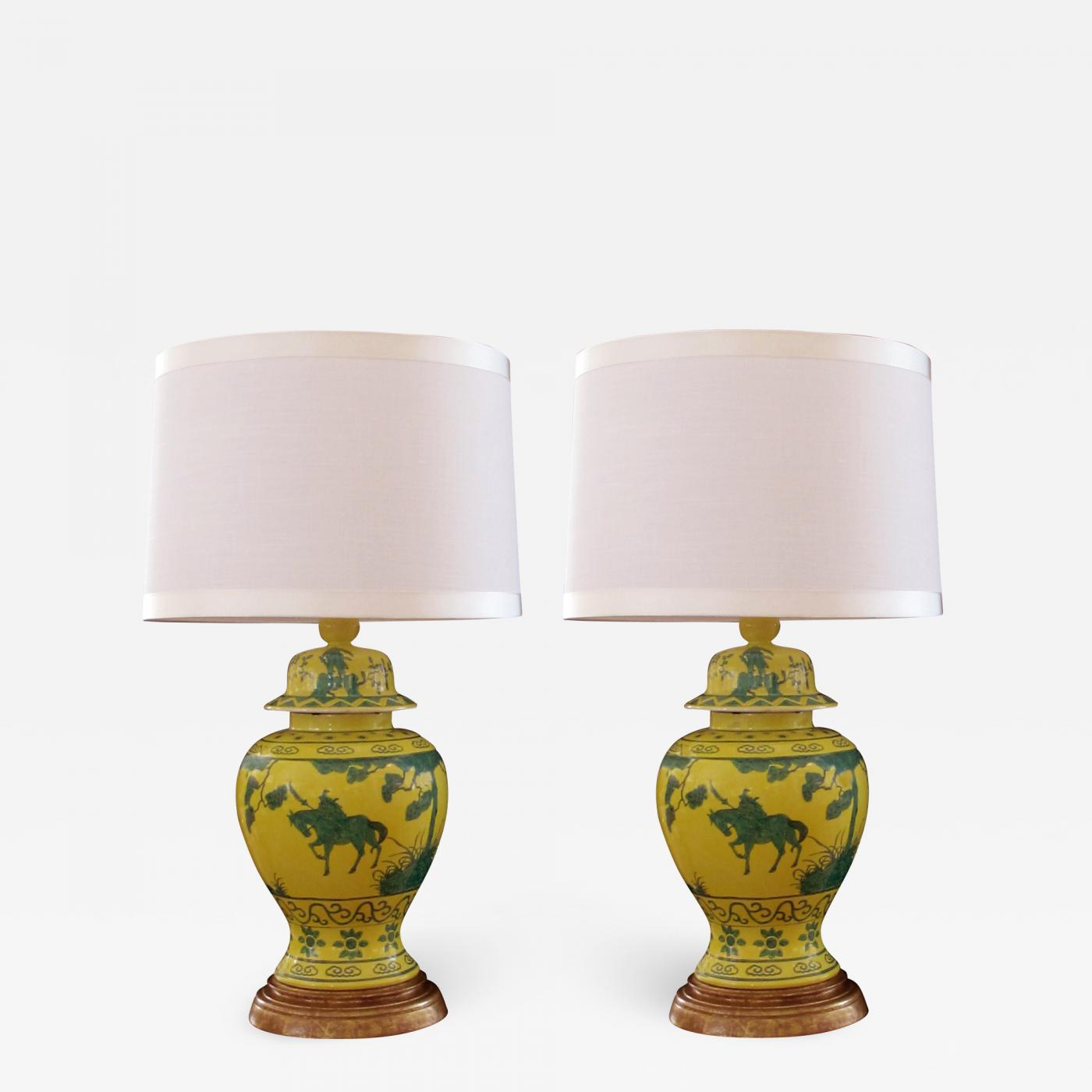 05b4b8b311a6 A Stunning Pair of Japanese Canary Yellow Lamps with Green ...