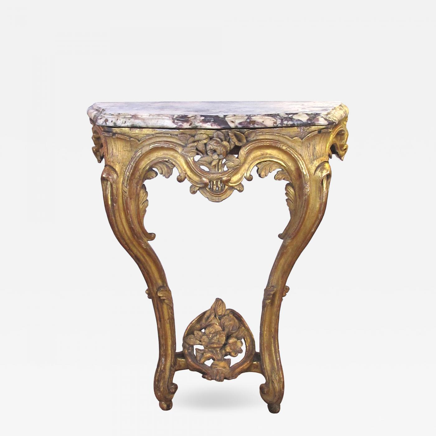 A Well-carved Italian Rococo Gilt-wood Wall Console Table With Marble Top