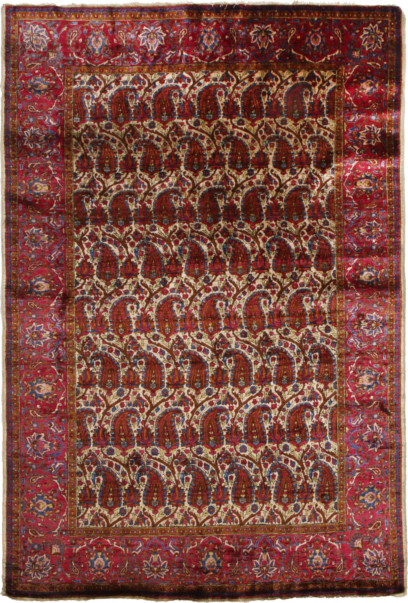 Antique Kashan Traditional Burgundy Red And Beige Wool Persian Rug